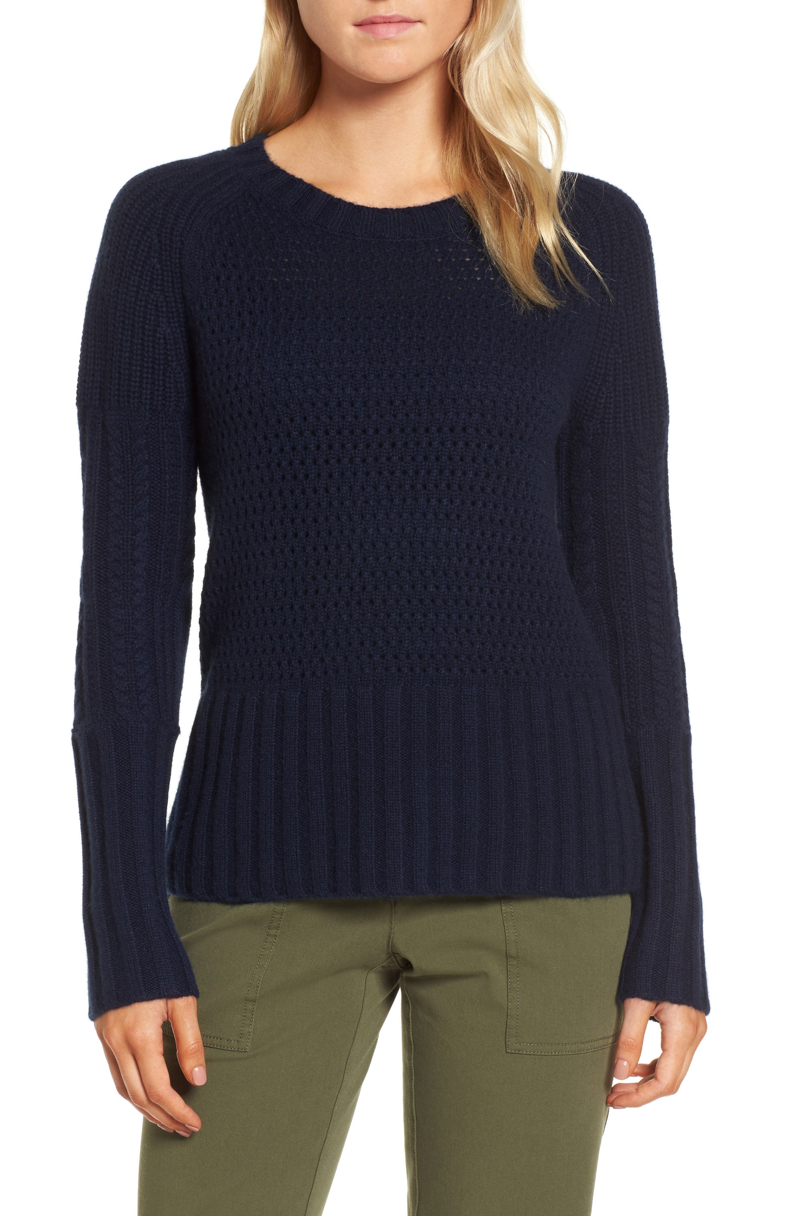 Mixed Stitch Cashmere Sweater,                         Main,                         color, Navy Medieval
