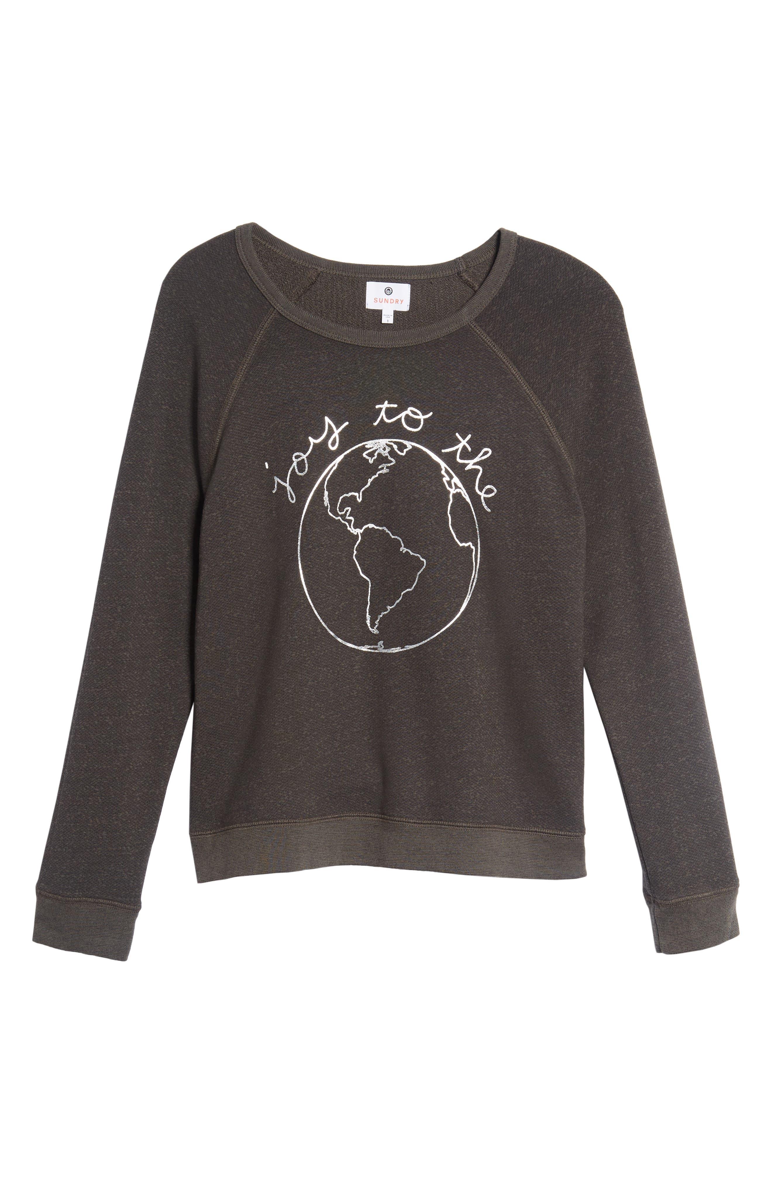 Joy to the World Sweatshirt,                             Alternate thumbnail 6, color,                             Black