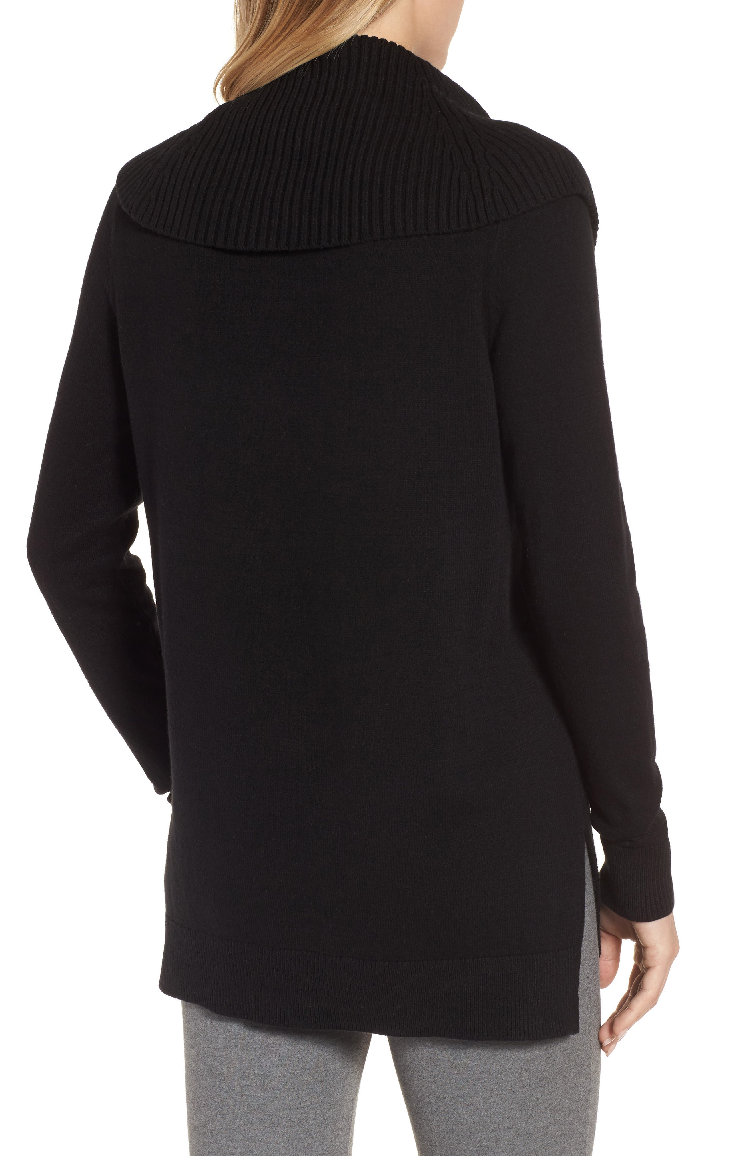 Cowl Neck Sweater,                             Alternate thumbnail 2, color,                             Black