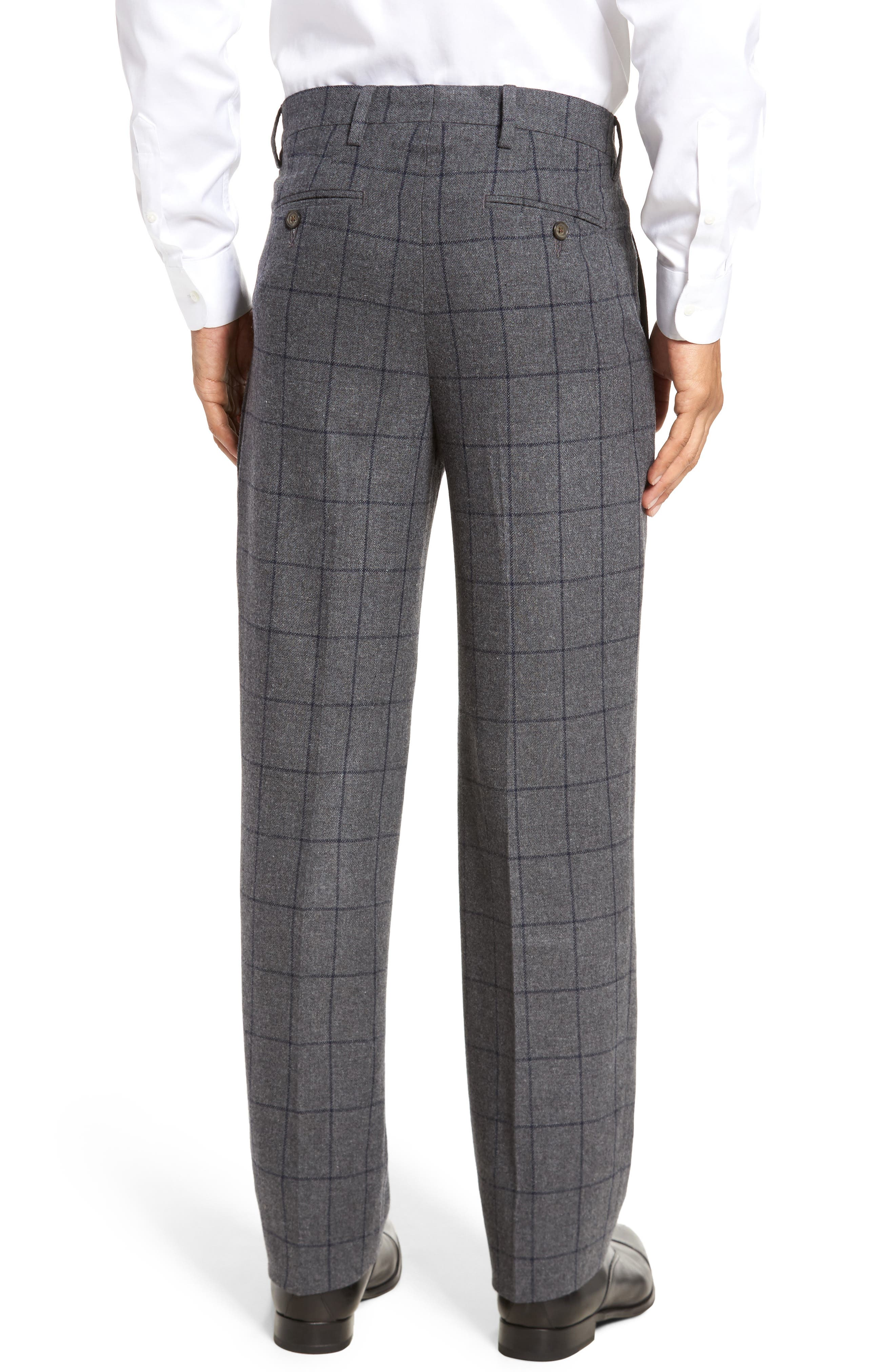 Flat Front Windowpane Wool Blend Trousers,                             Alternate thumbnail 2, color,                             Grey