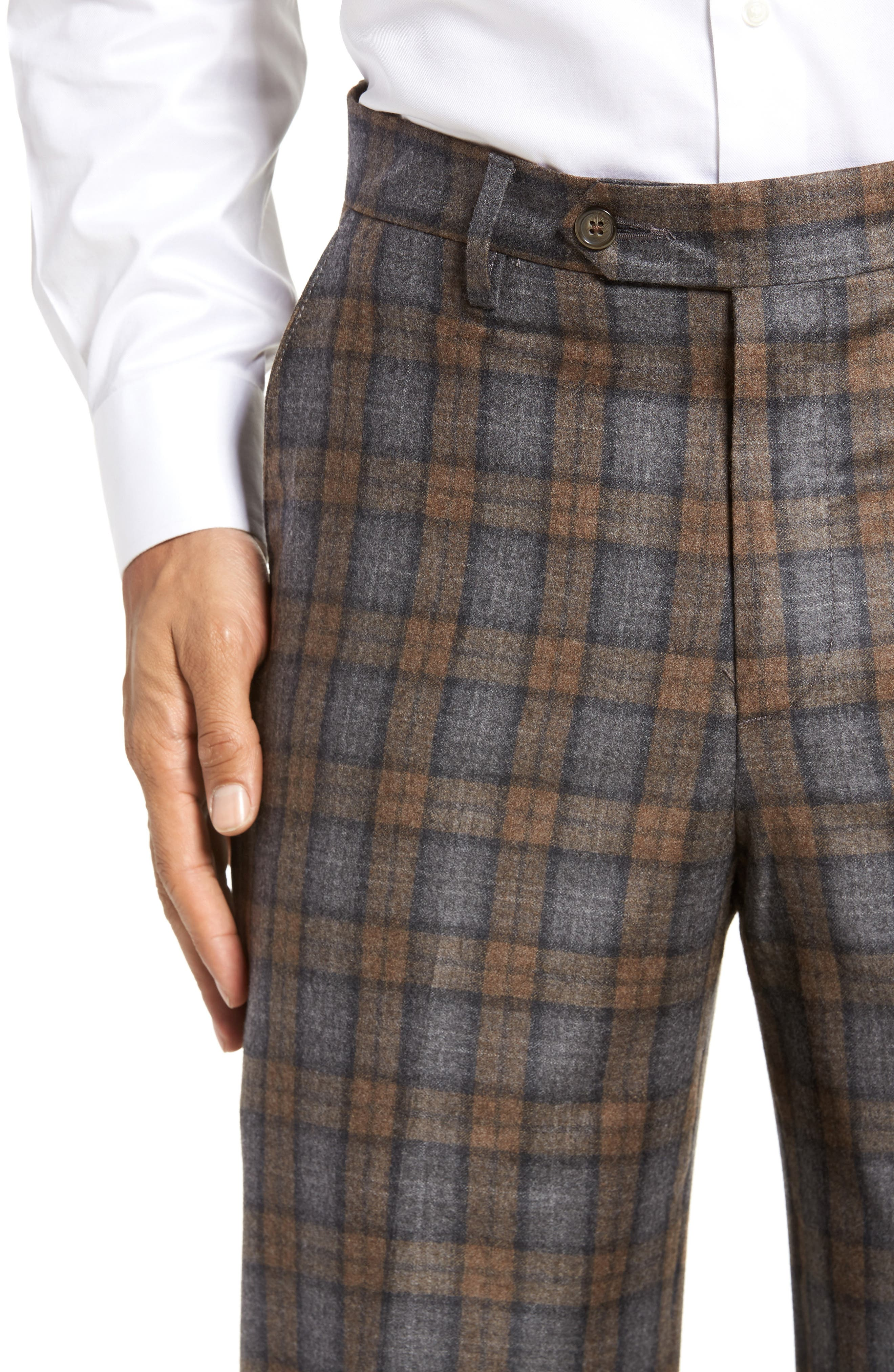 Flat Front Plaid Wool Trousers,                             Alternate thumbnail 4, color,                             Dark Tan