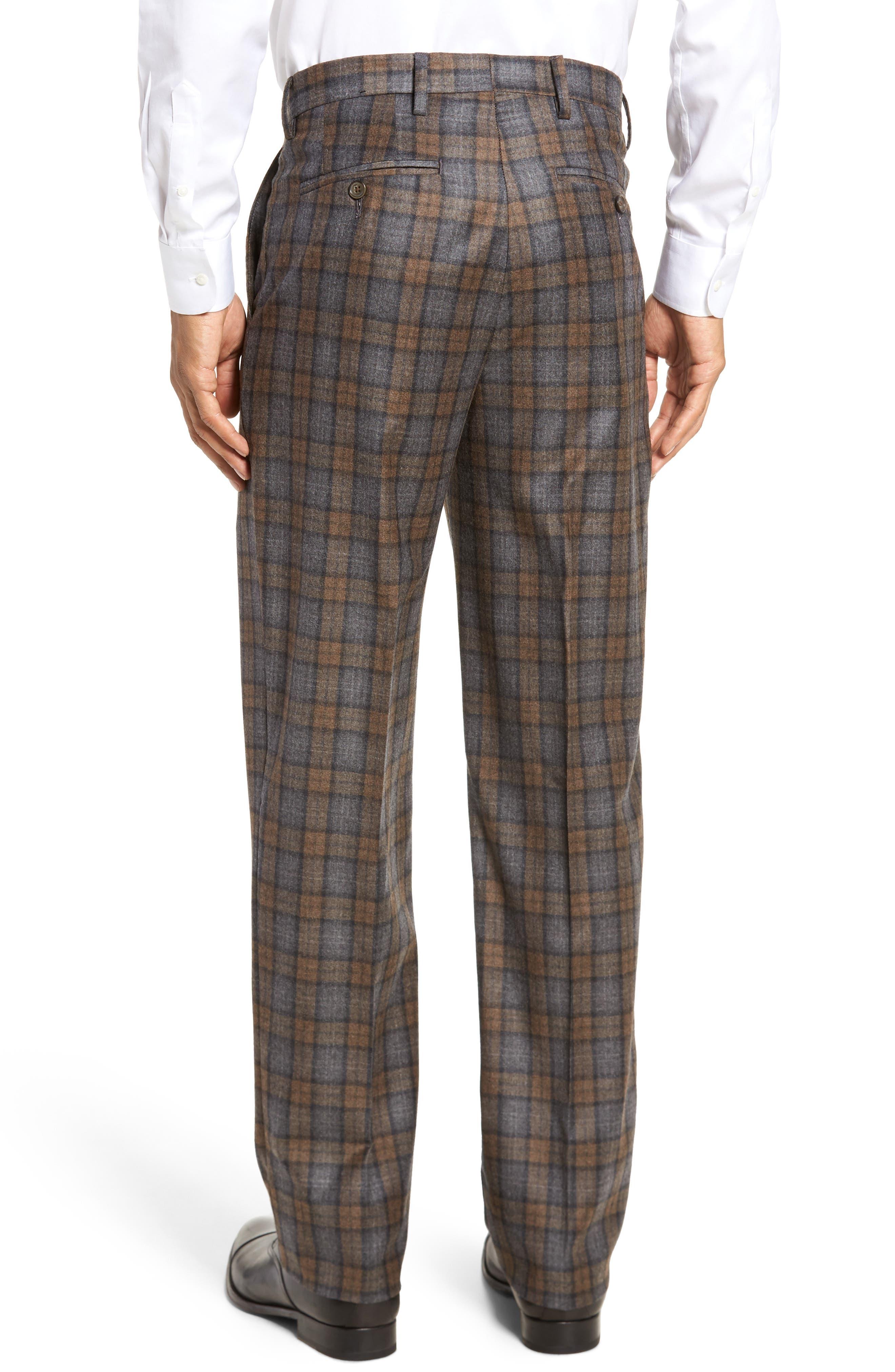 Flat Front Plaid Wool Trousers,                             Alternate thumbnail 2, color,                             Dark Tan