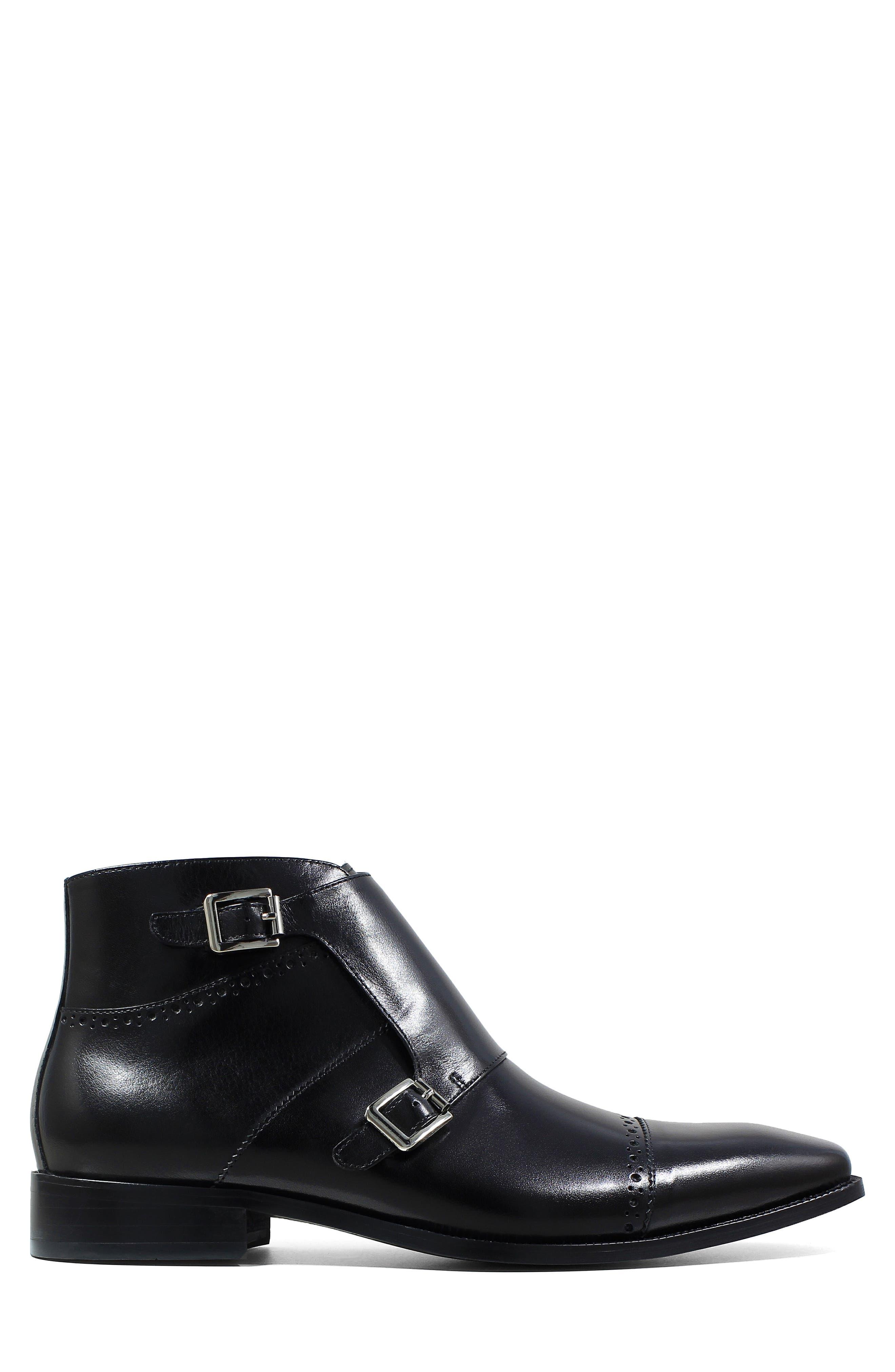 Kason Double Monk Strap Boot,                             Alternate thumbnail 3, color,                             Black Leather