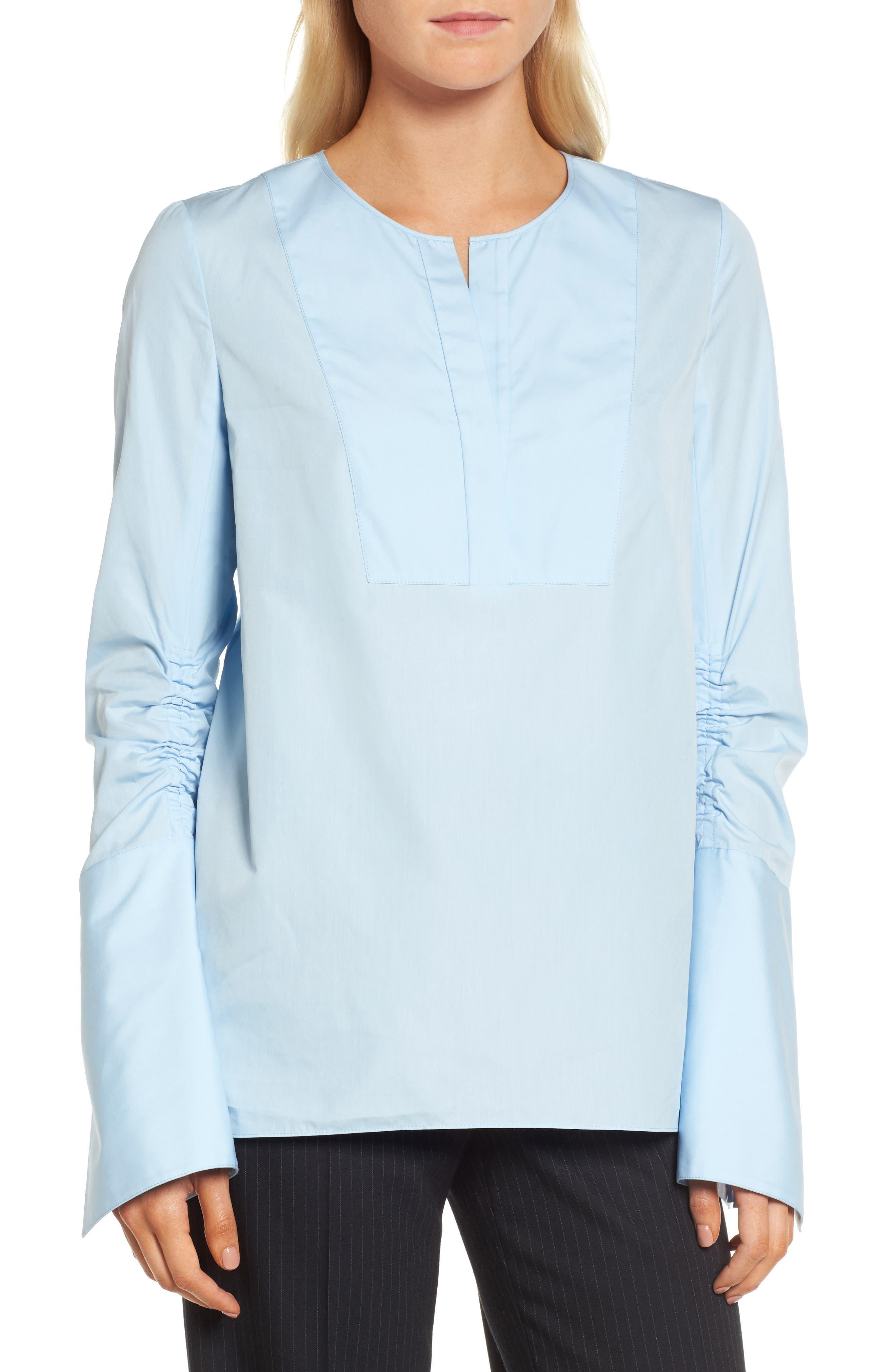 Ruched Sleeve Poplin Blouse,                             Main thumbnail 1, color,                             Blue Kentucky