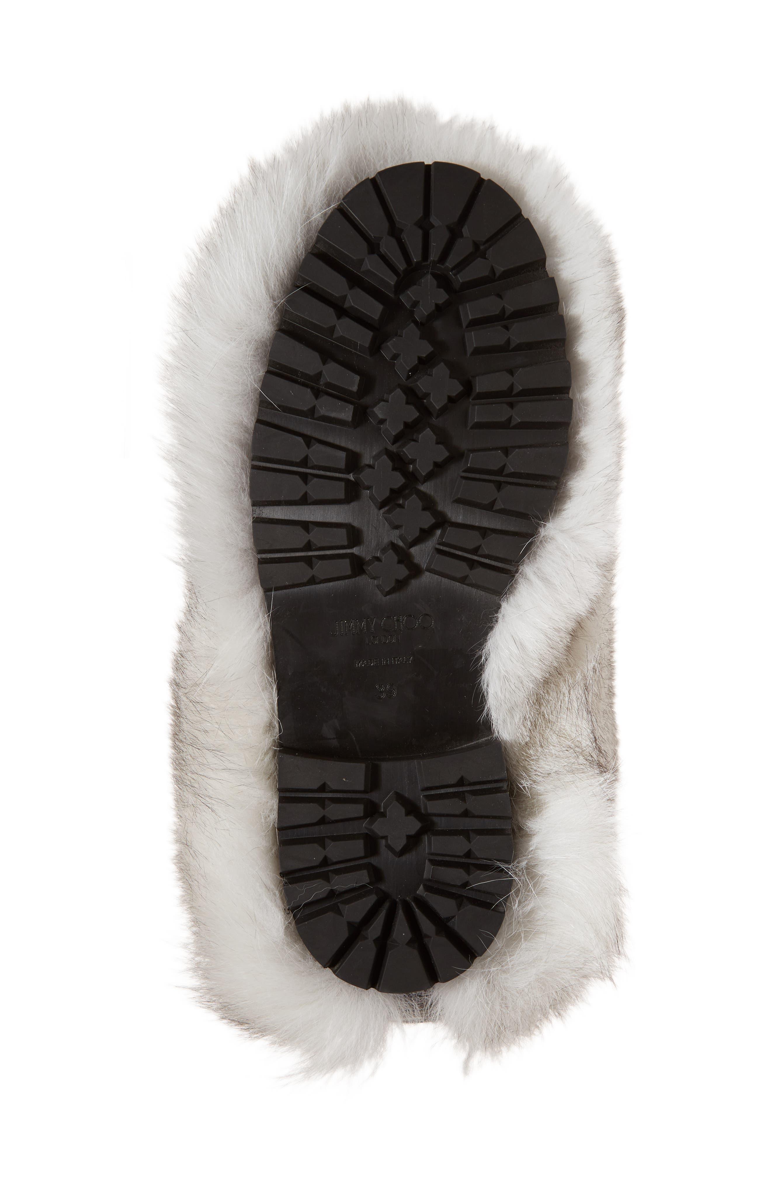 Dalton Genuine Fox & Rabbit Fur Bootie,                             Alternate thumbnail 6, color,                             White