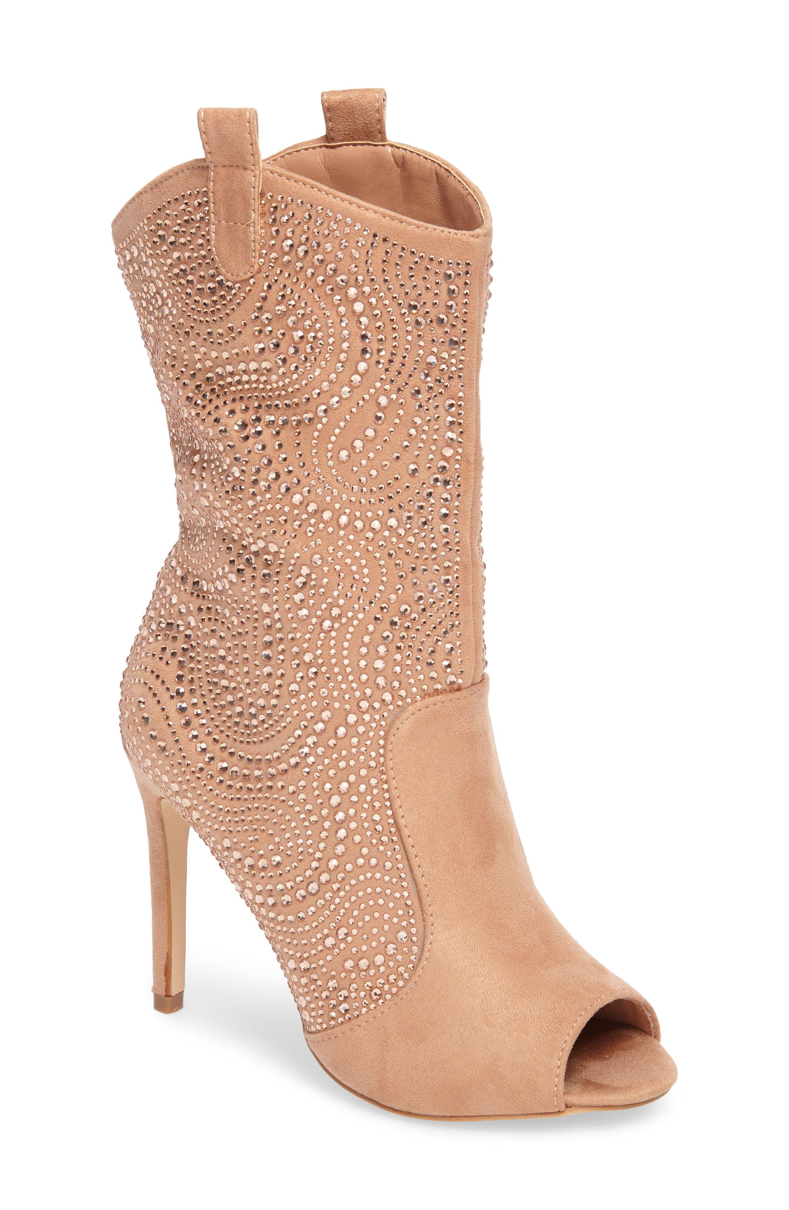 Lauren Lorraine Layla Peep Toe Embellished Boot T9wDpv