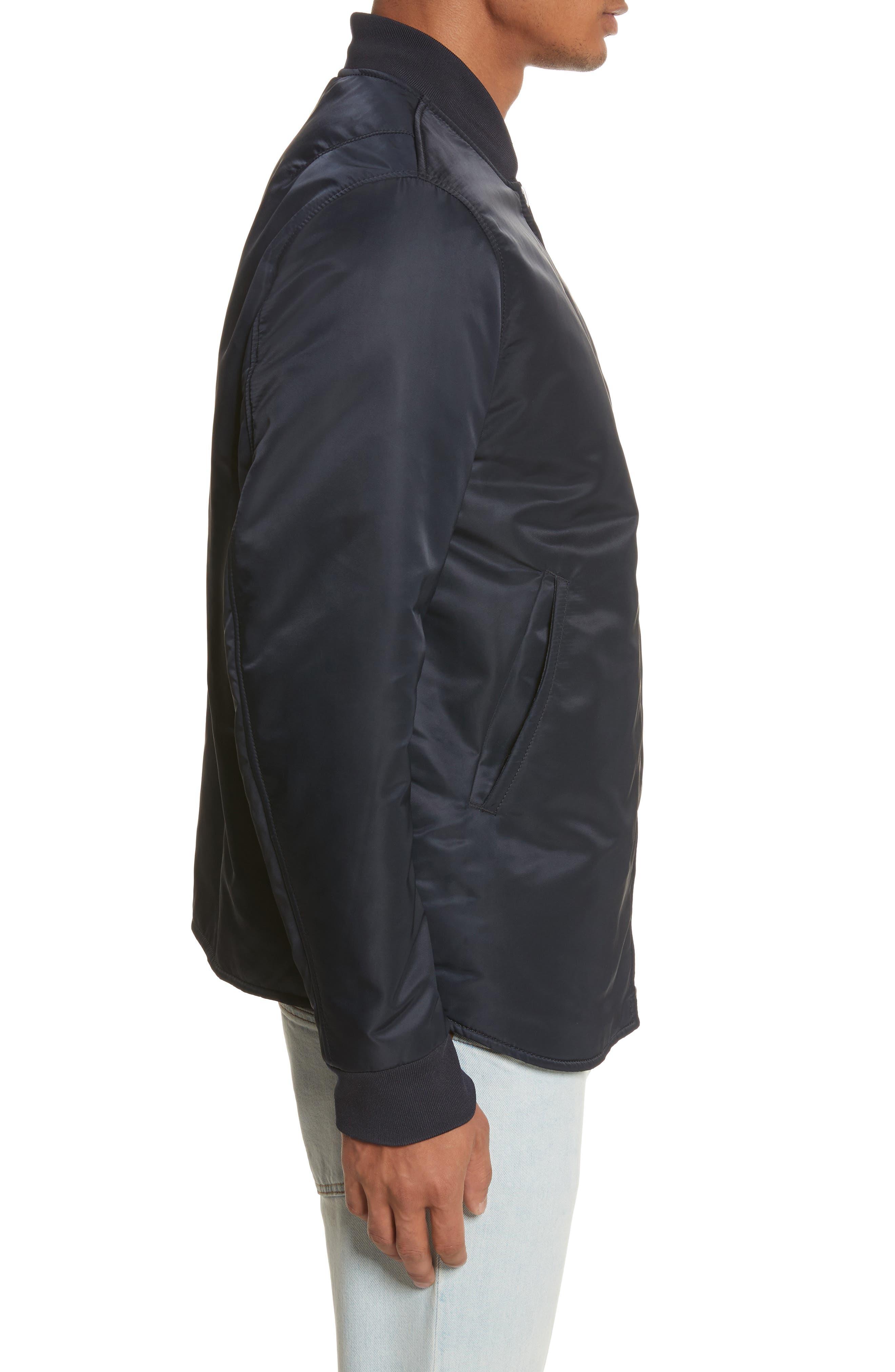 Nylon Bomber Jacket,                             Alternate thumbnail 4, color,                             Steel Blue