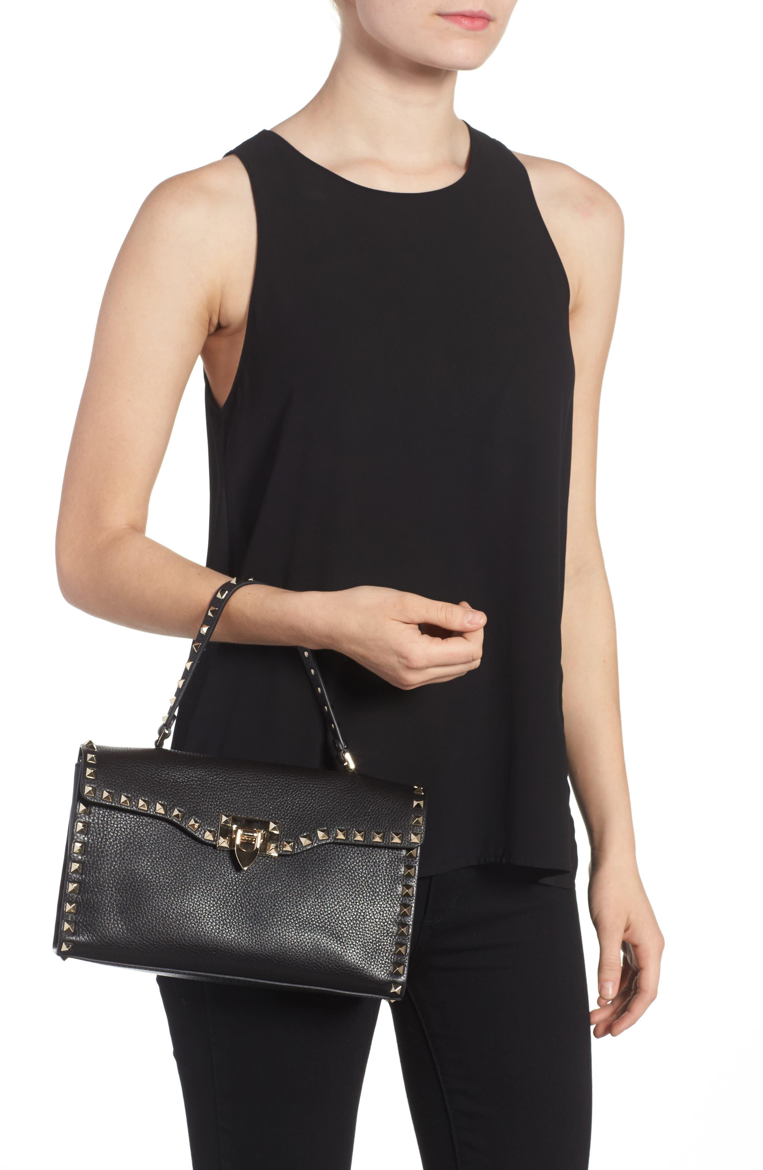 Small Rockstud Leather Single Handle Shoulder Bag,                             Alternate thumbnail 2, color,                             Black