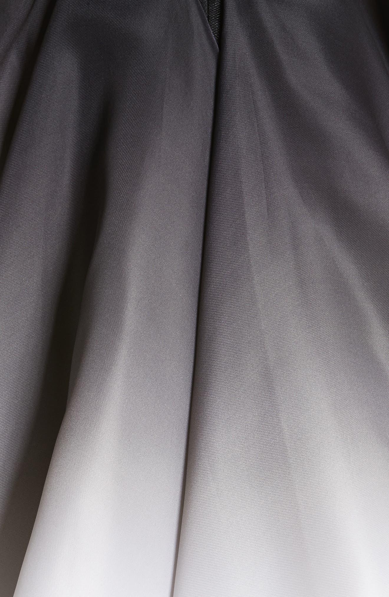 Ombré Strapless Tea Length Dress,                             Alternate thumbnail 6, color,                             Black/ White