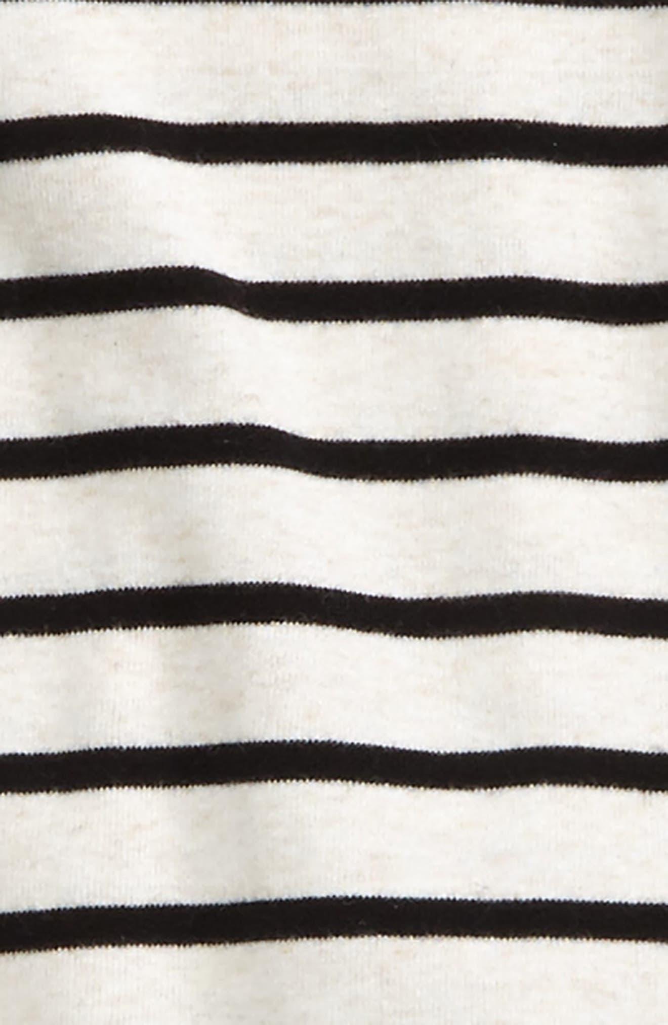 Stripe Shirt, Faux Fur Vest & Sweatpants Set,                             Alternate thumbnail 2, color,                             Ivory- Black Breton Stripe