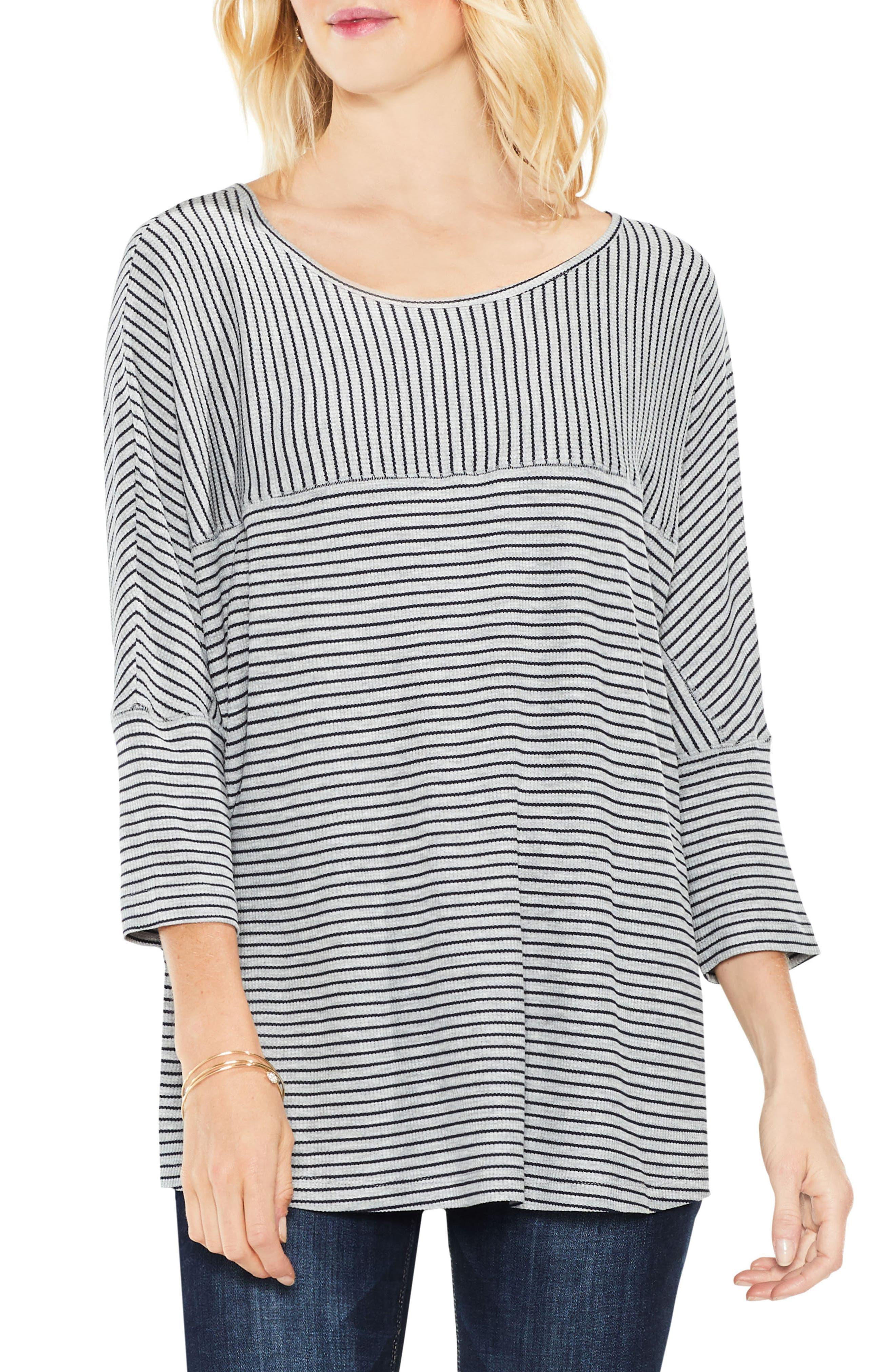 Stripe Knit Top,                         Main,                         color, Light Heather Grey