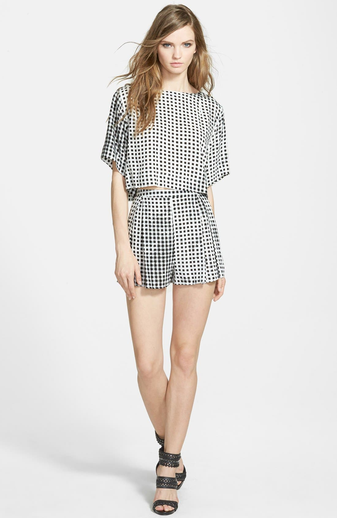 Gingham Crop Tee,                             Alternate thumbnail 4, color,                             Black