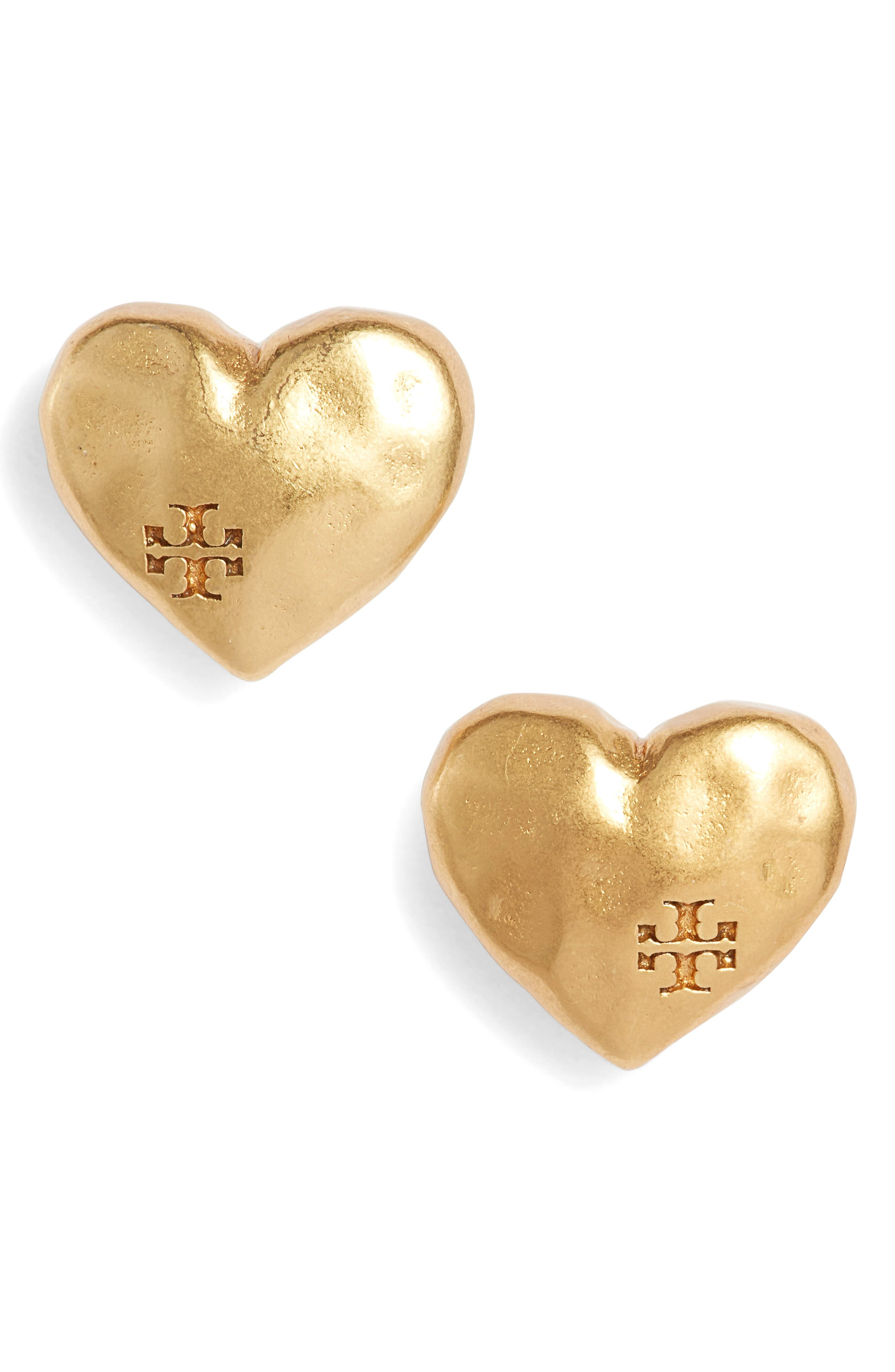 Heart Stud Earrings,                         Main,                         color, Vintage Gold