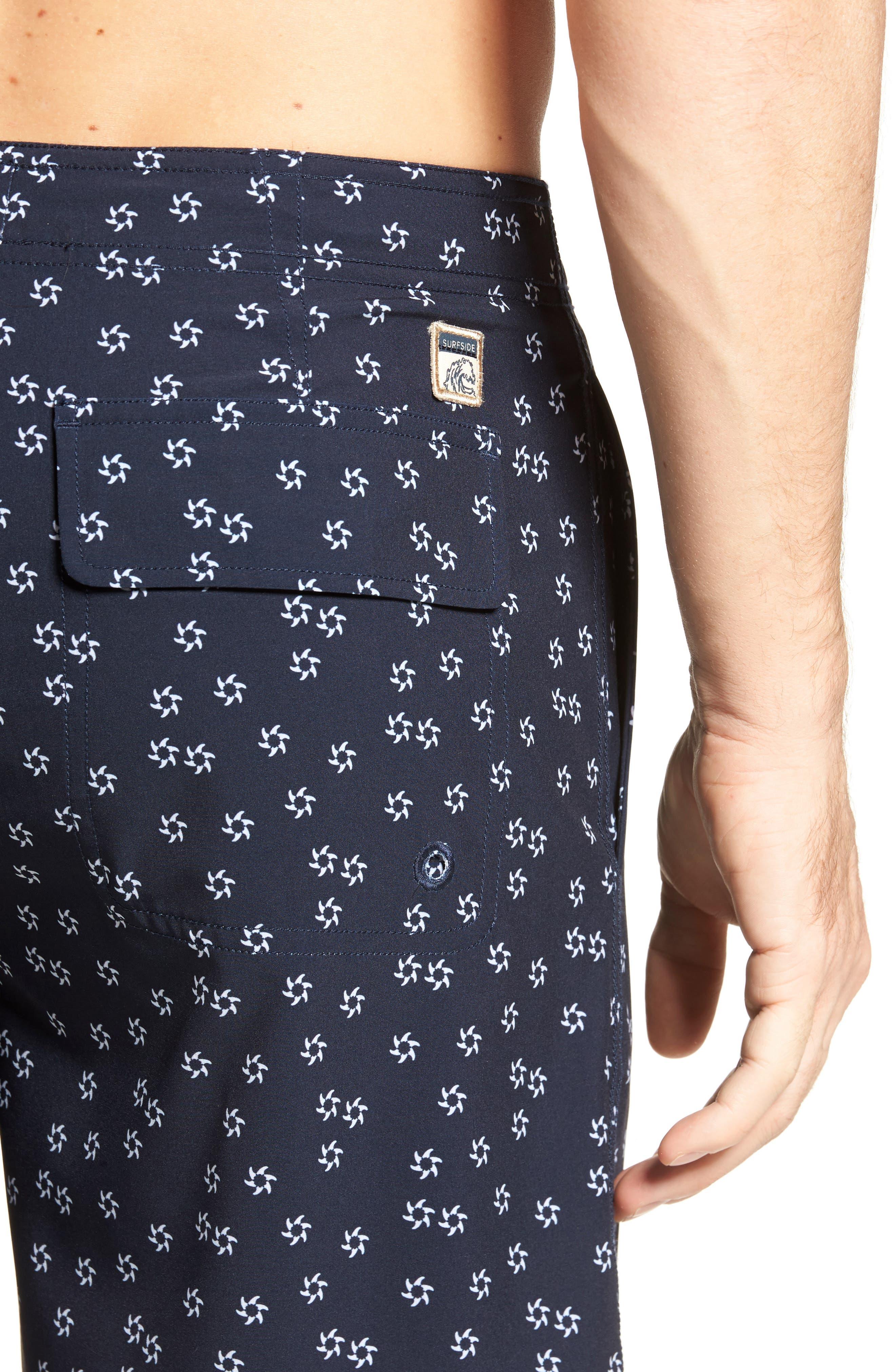 Fin Print Board Shorts,                             Alternate thumbnail 4, color,                             Navy Blazer