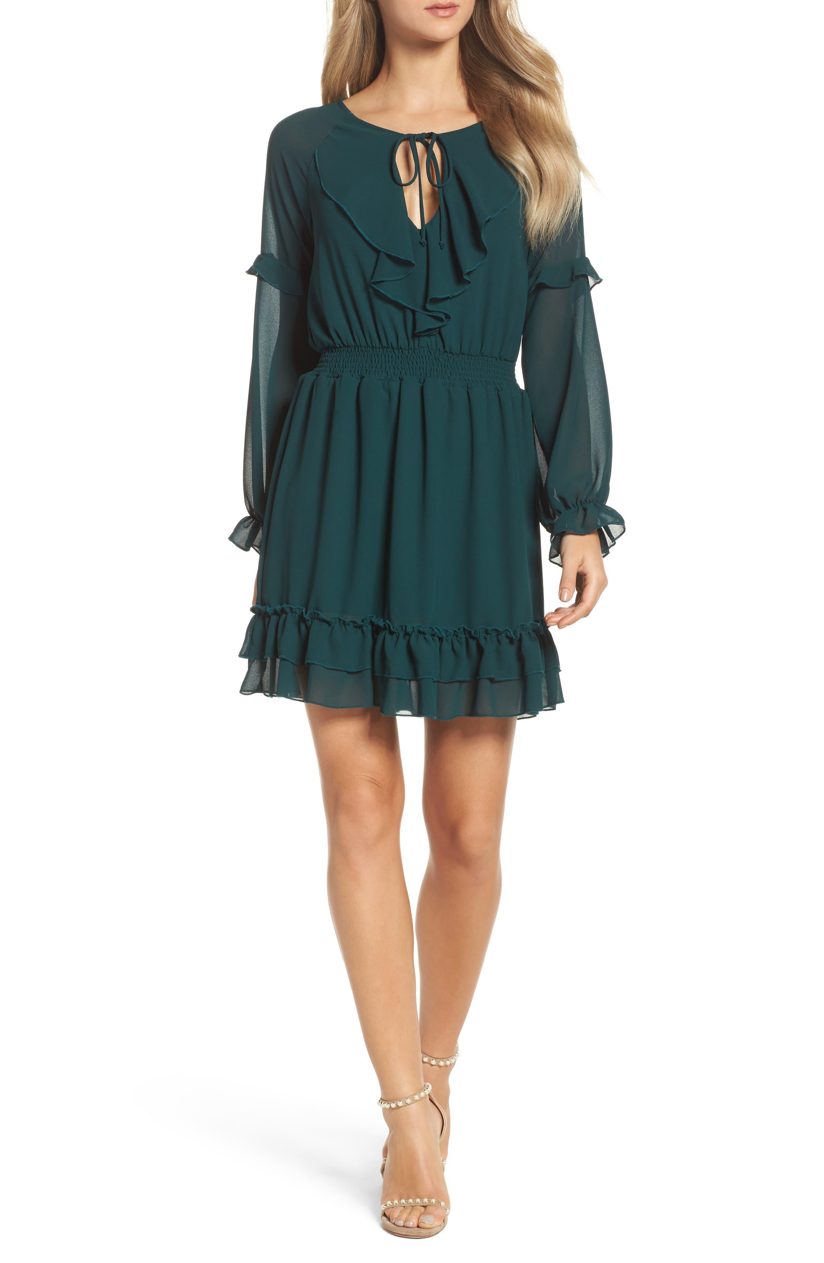 Julia Chiffon Skater Dress,                         Main,                         color, Hunter