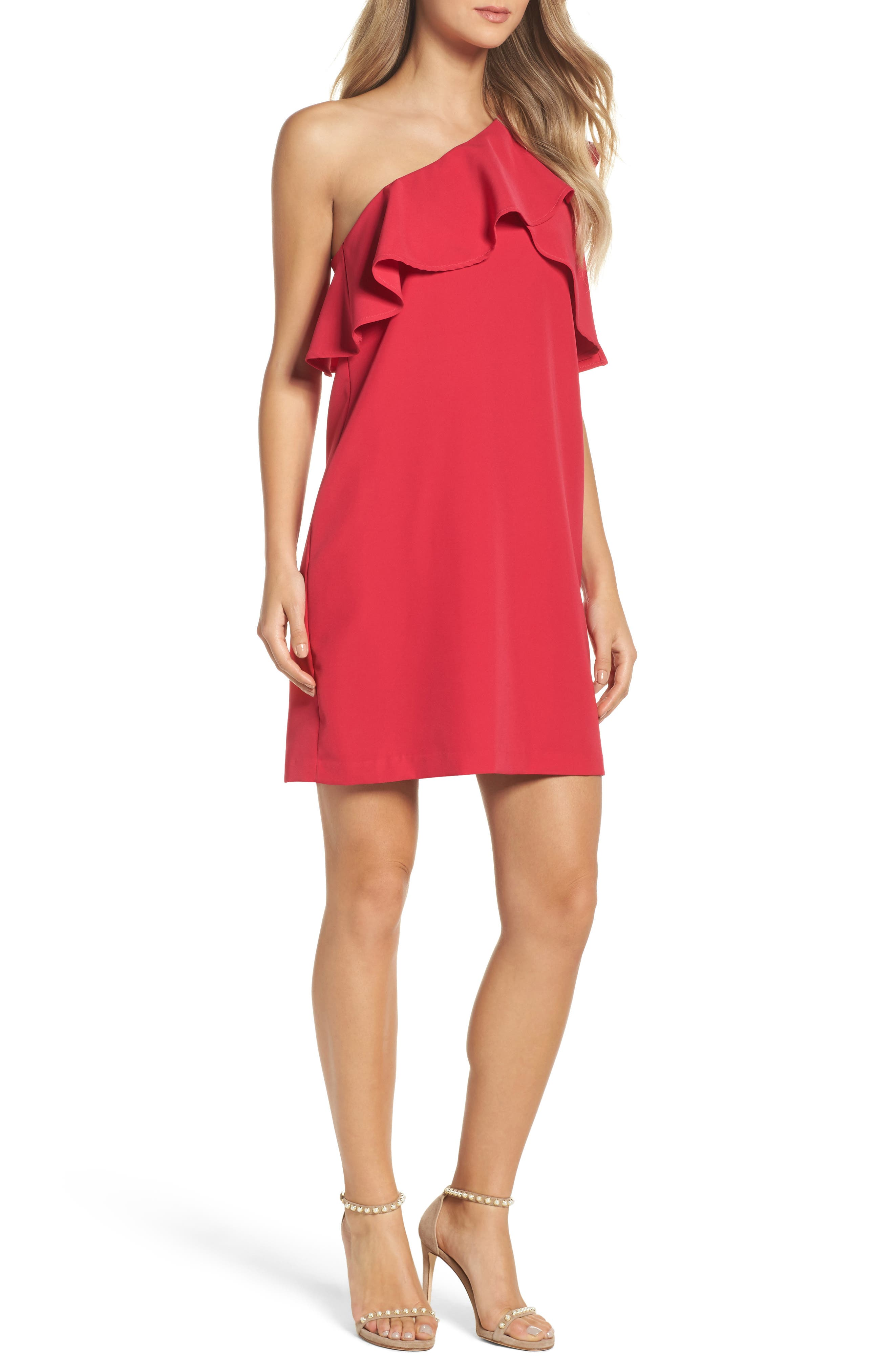 Charles Henry Ruffle One-Shoulder Dress