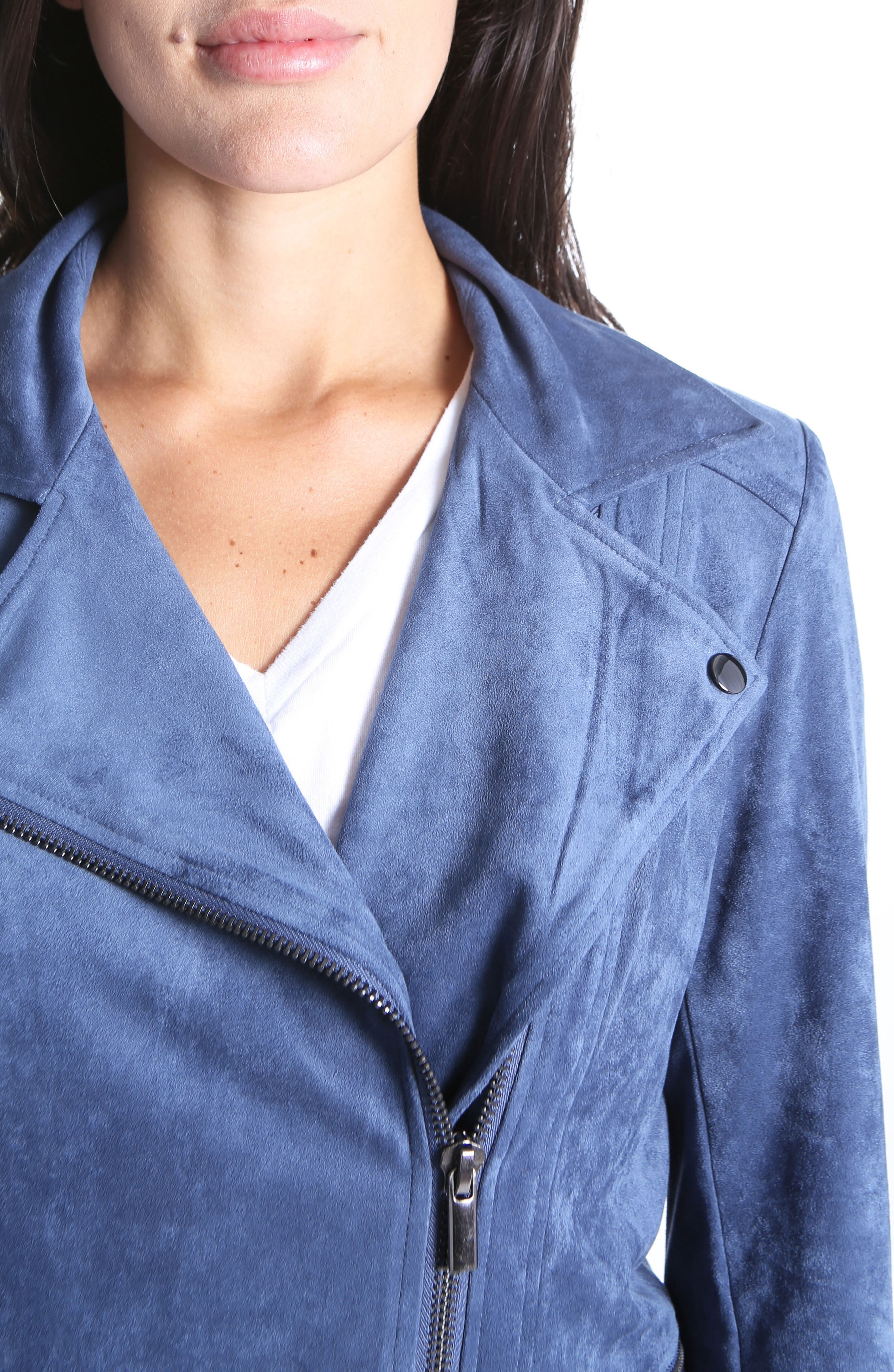 Faux Suede Eveline Jacket,                             Alternate thumbnail 4, color,                             Slate Blue