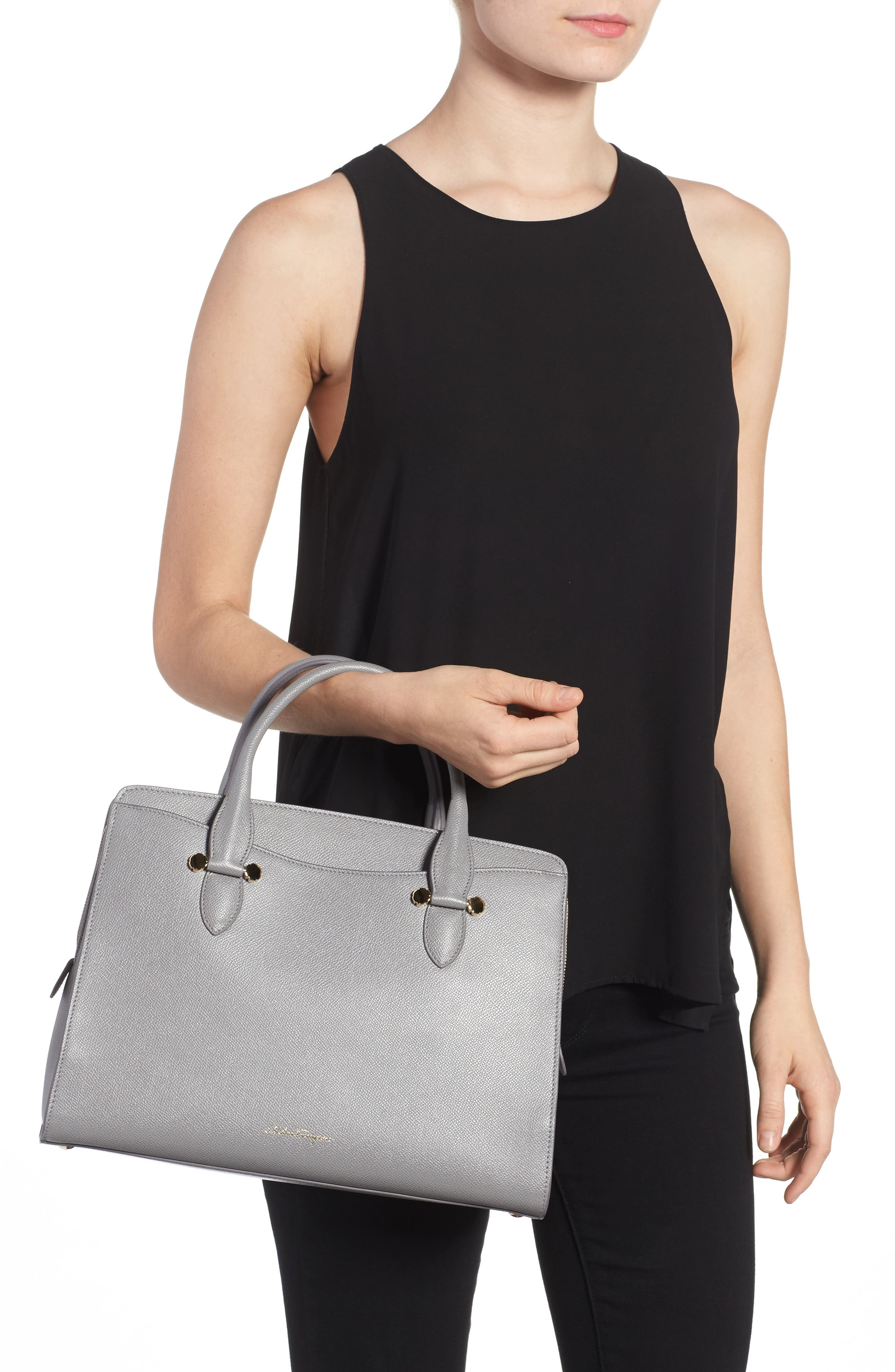 Small Today Leather Satchel,                             Alternate thumbnail 2, color,                             Fossil Grey
