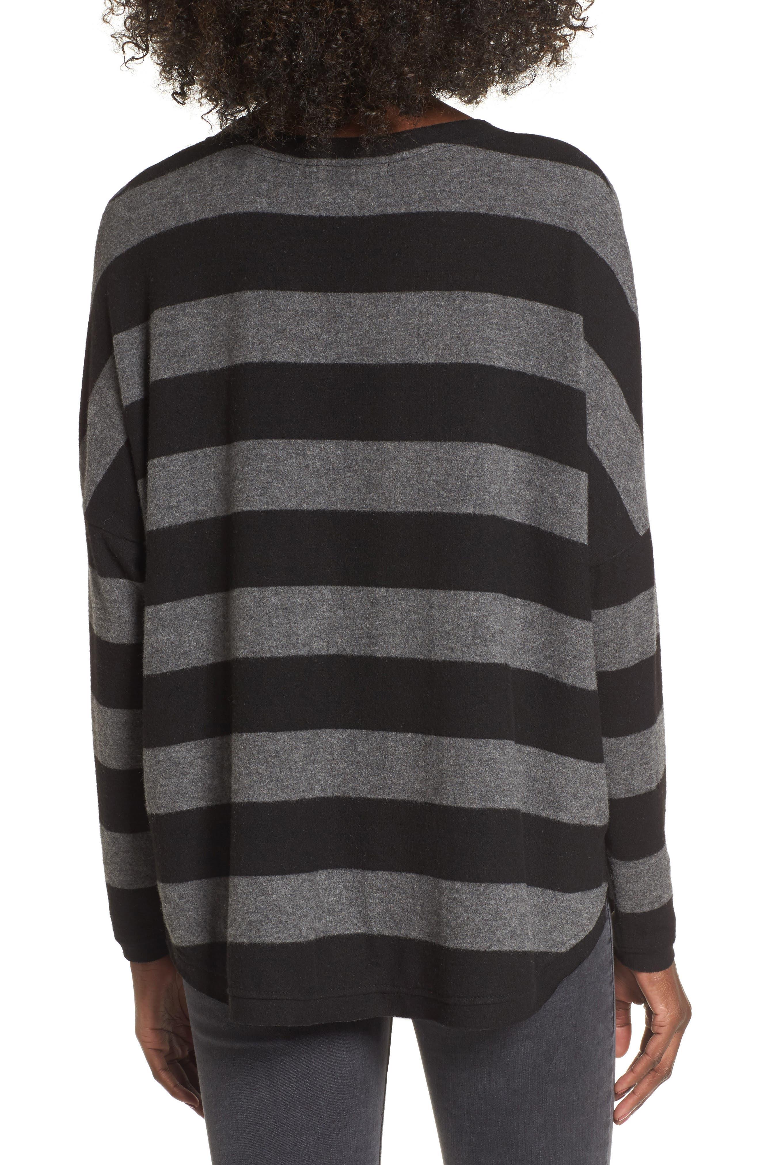 Stripe Cozy Tee,                             Alternate thumbnail 2, color,                             H. Charcoal/ Black