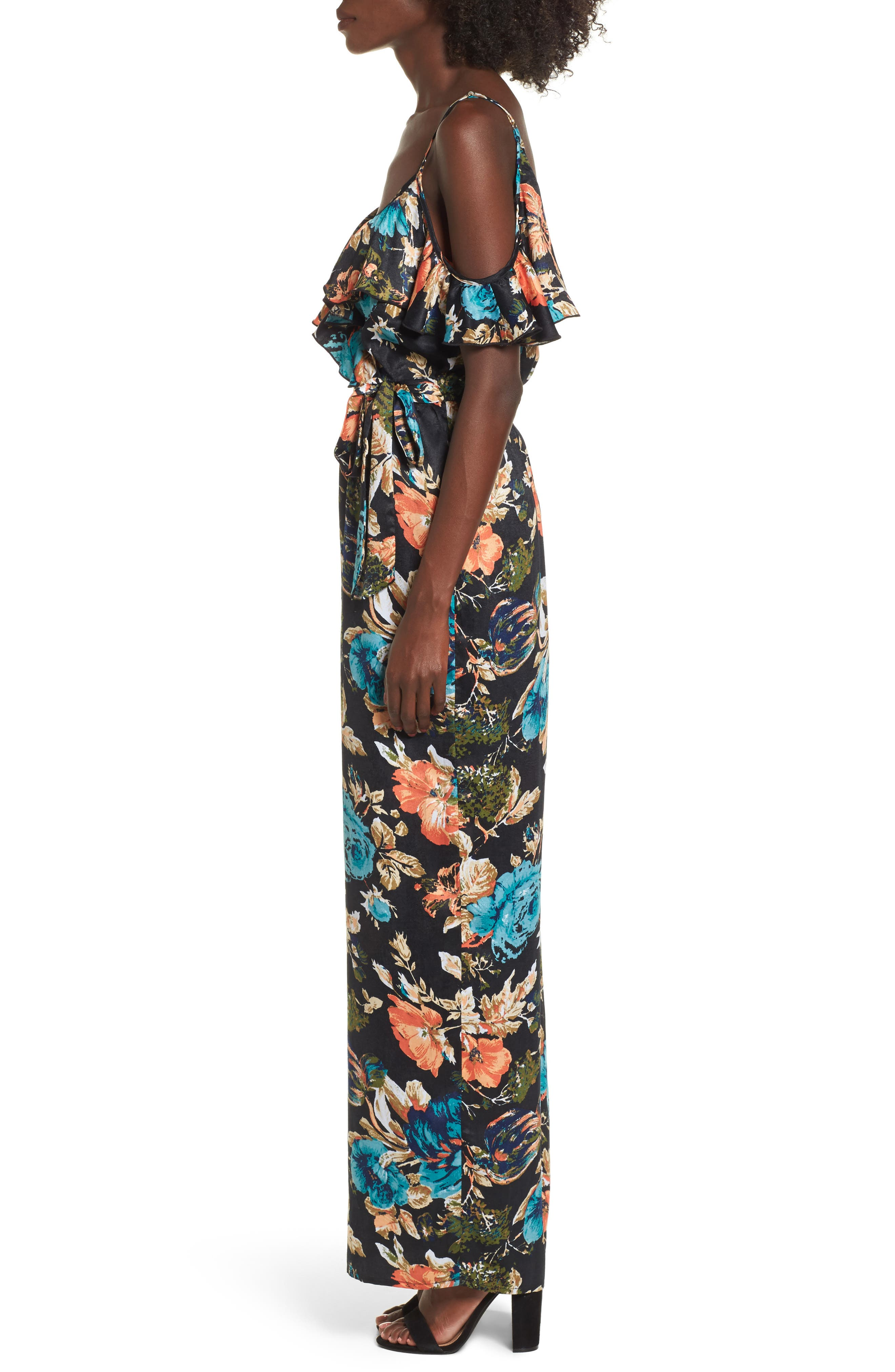Peony Print Jumpsuit,                             Alternate thumbnail 3, color,                             Black/ Orange