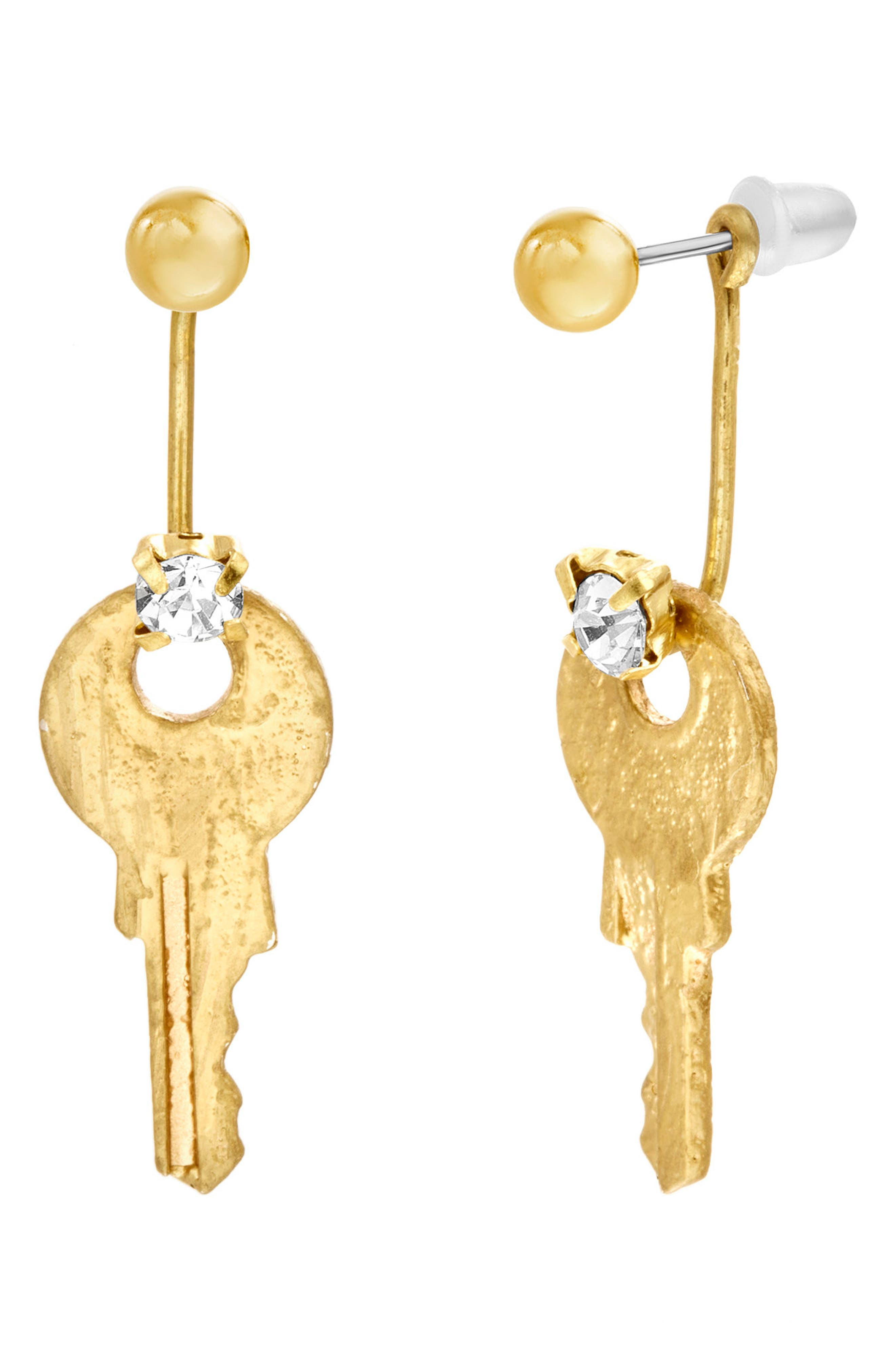 Key Statement Earrings,                             Main thumbnail 1, color,                             Gold