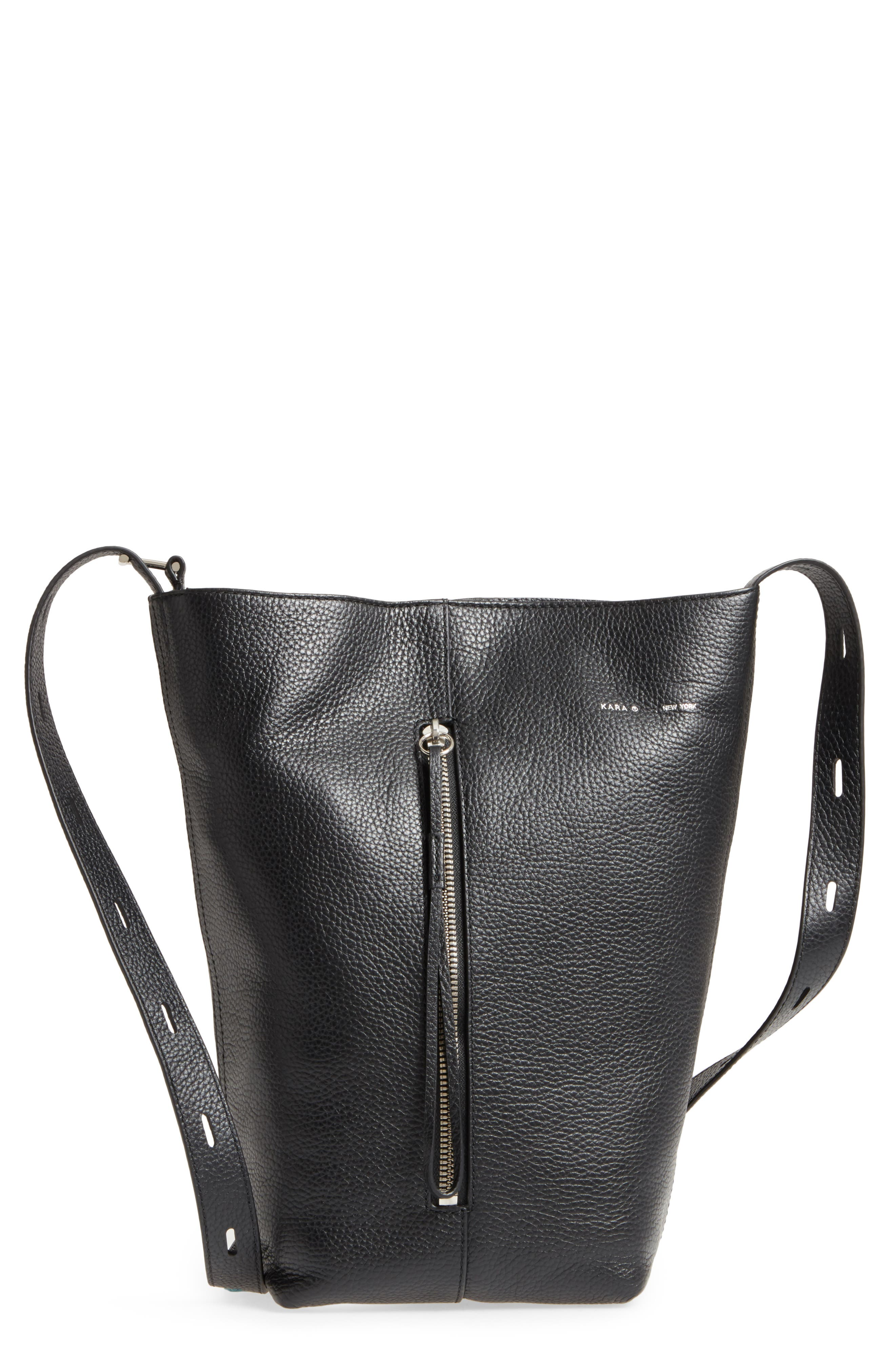 KARA Pebbled Leather Panel Pail Convertible Leather Bucket Bag