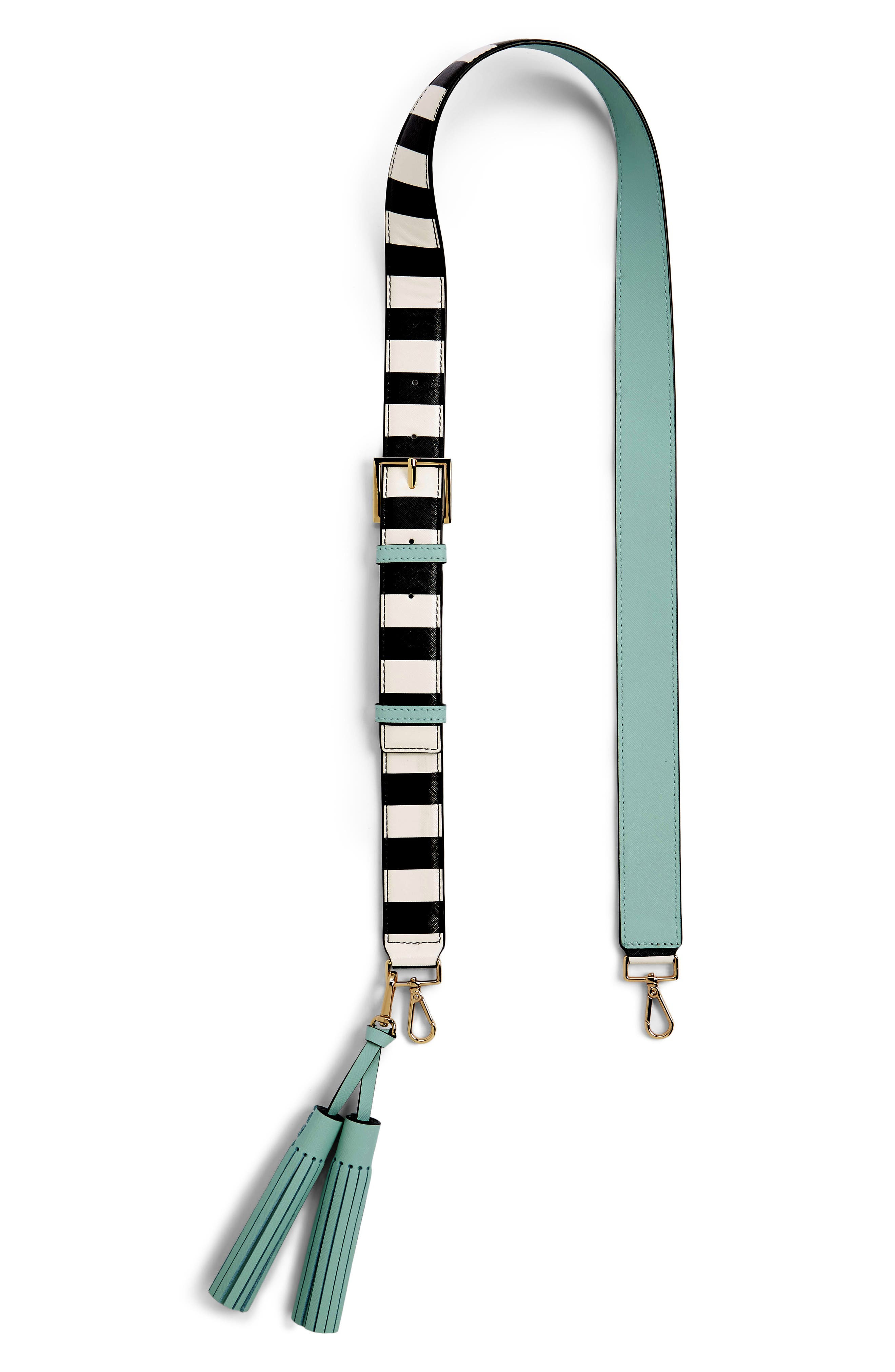 kate spade new york make it mine stripe tassel leather guitar style bag strap