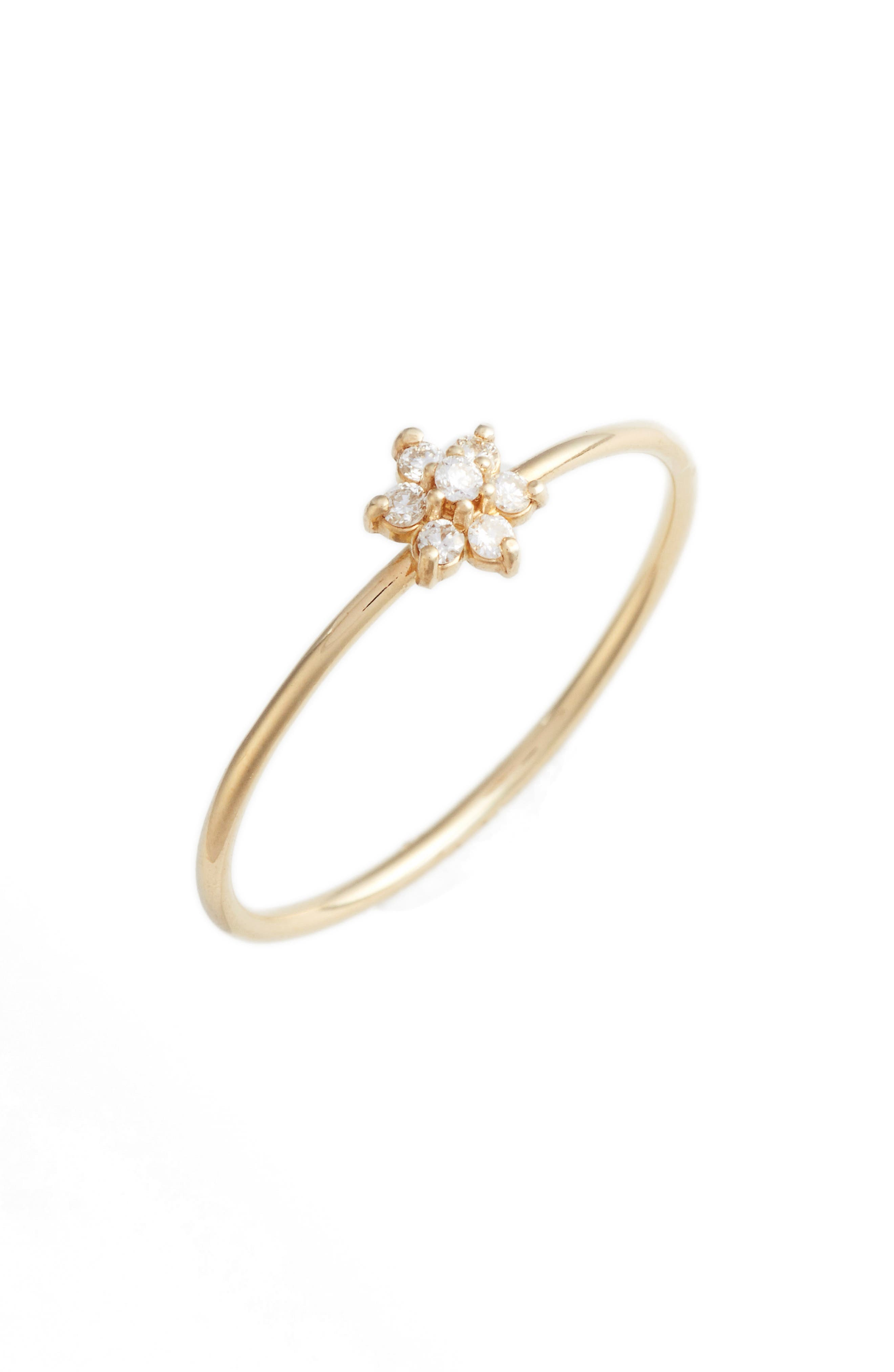 Diamond Flower Stacking Ring,                             Main thumbnail 1, color,                             Yellow Gold