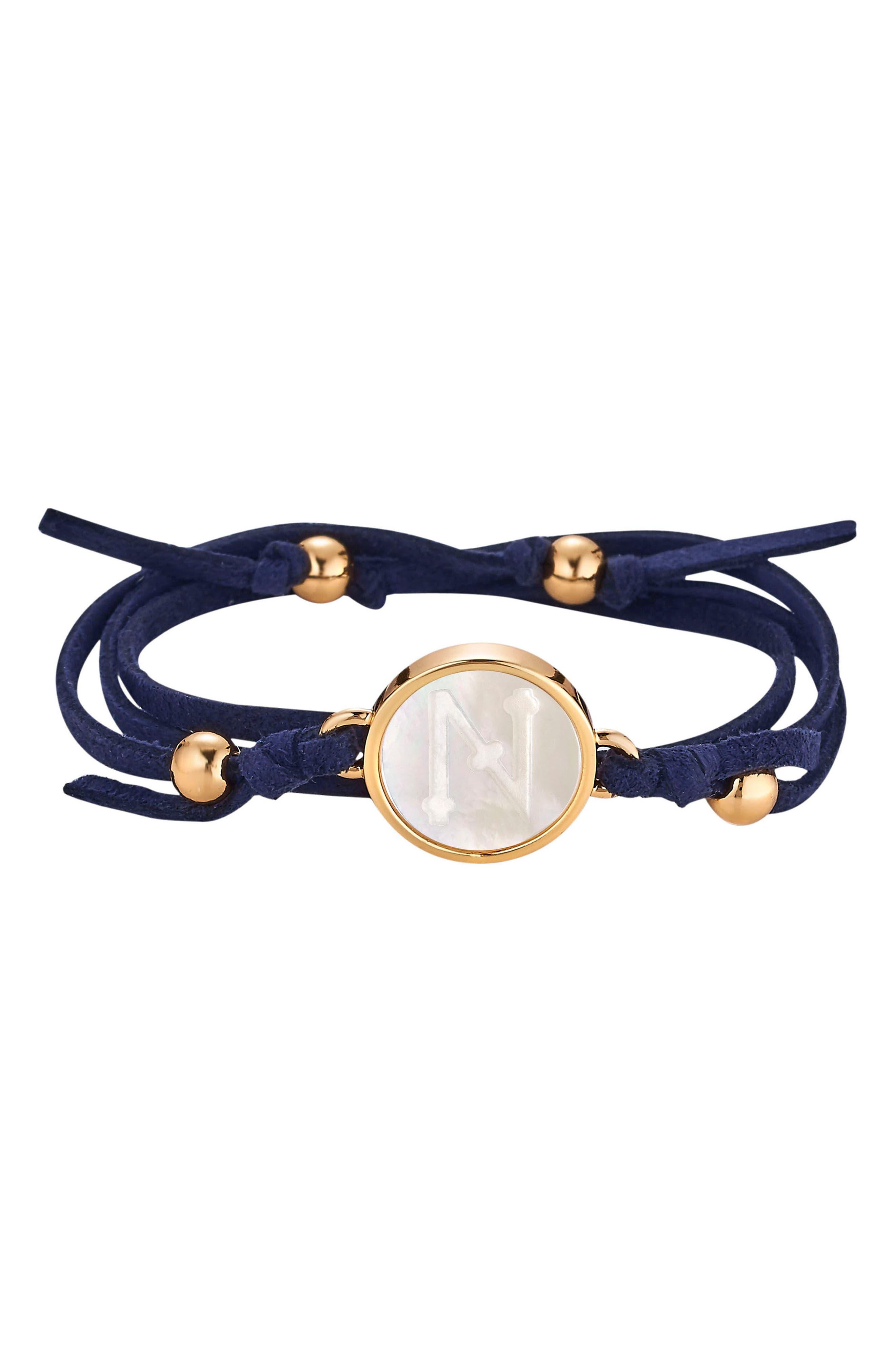Initial Suede Wrap Bracelet,                         Main,                         color, Navy - N