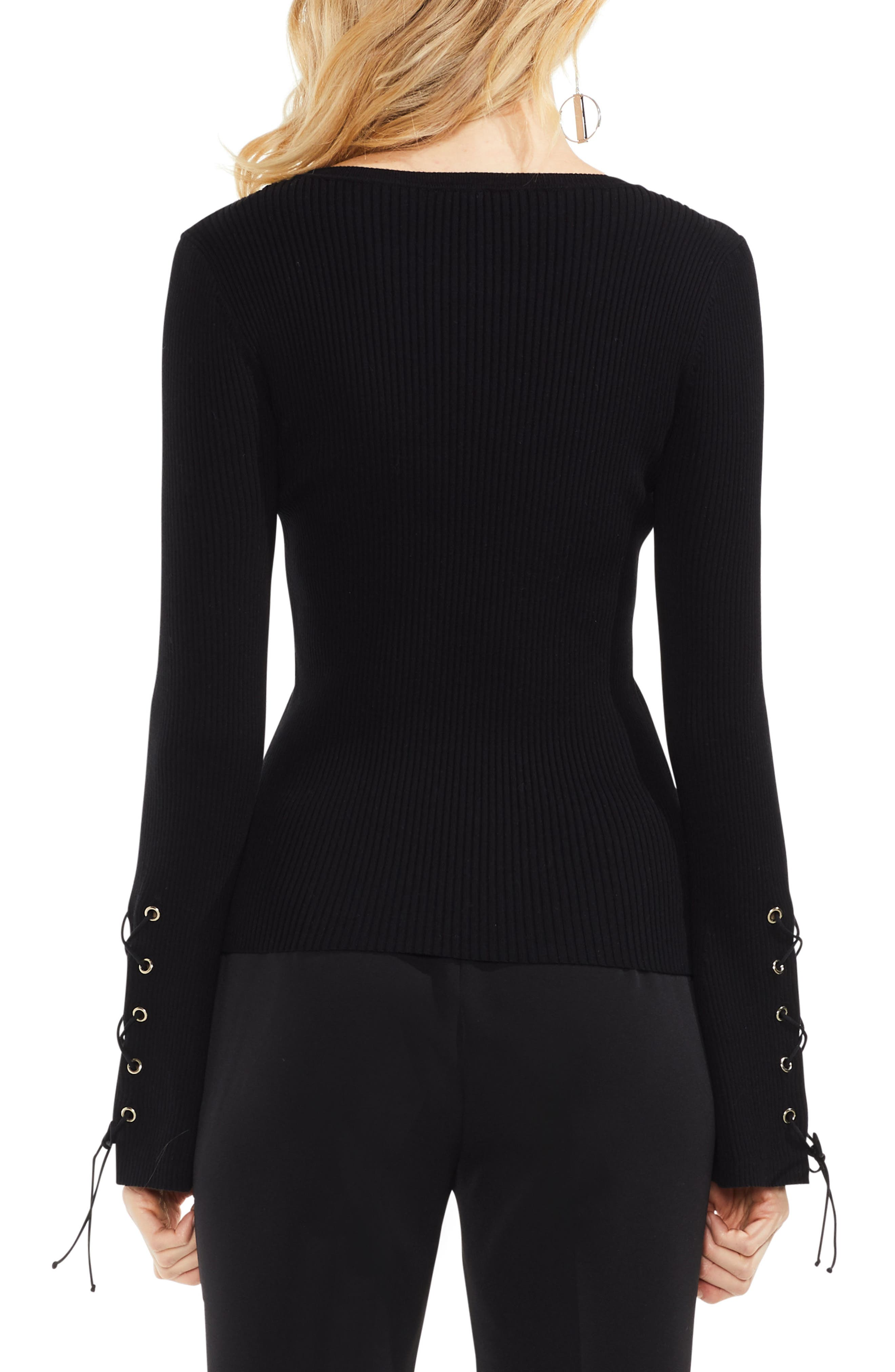 Alternate Image 2  - Vince Camuto Lace-Up Bell Sleeve Ribbed Sweater (Regular & Petite)