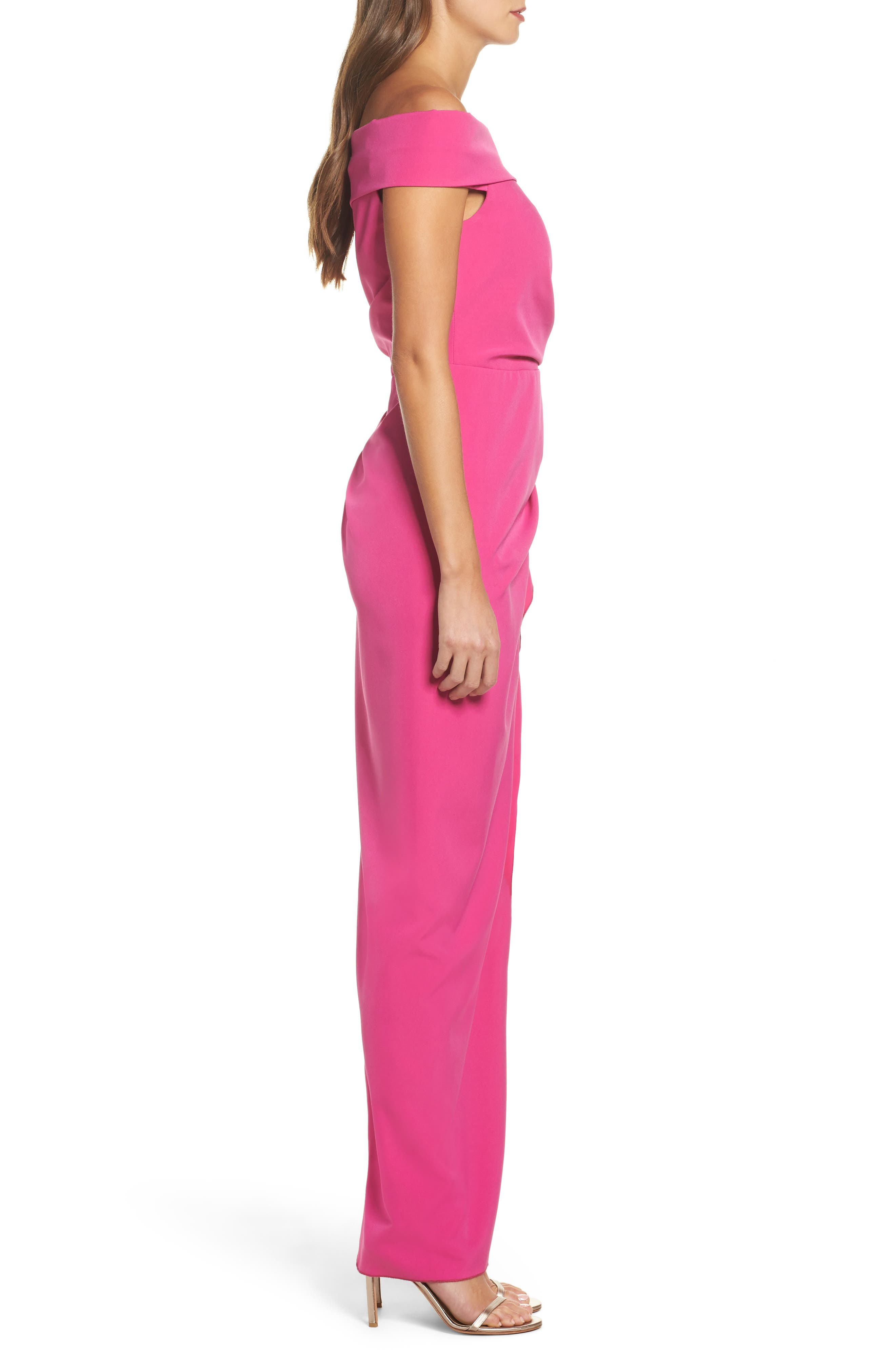 Off the Shoulder Crepe Gown,                             Alternate thumbnail 3, color,                             Fuchsia