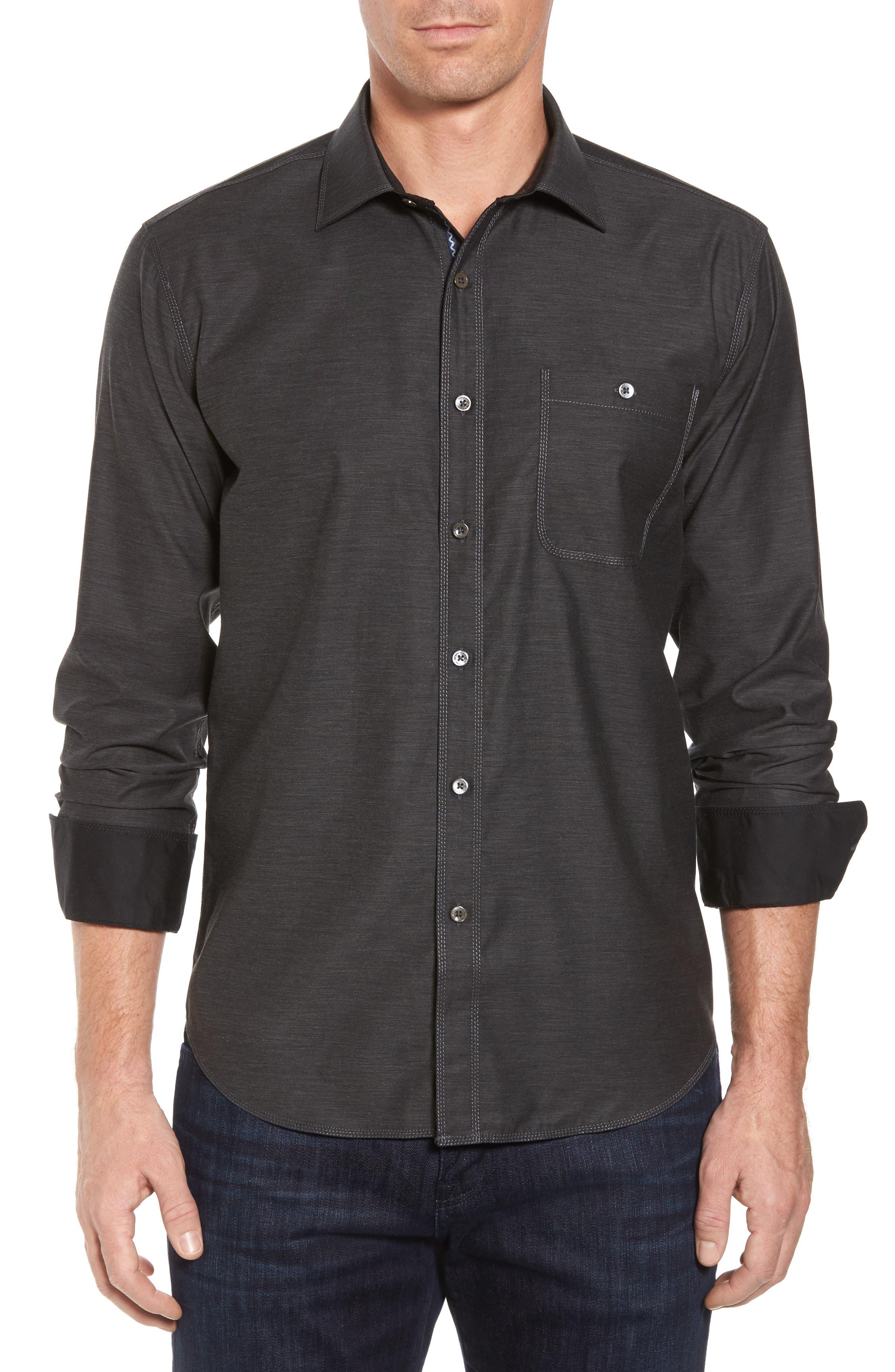 Main Image - Bugatchi Trim Fit Heathered Sport Shirt