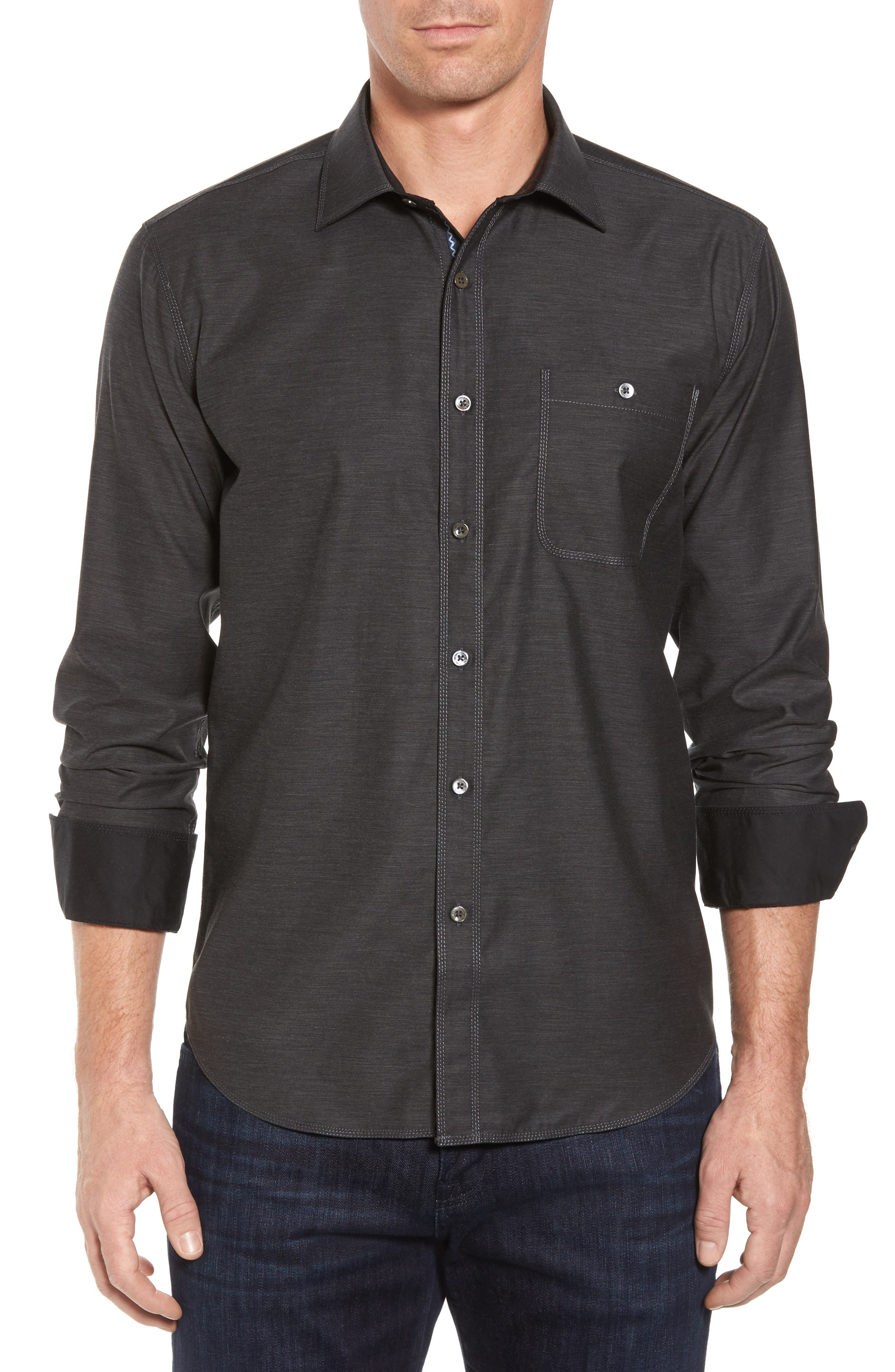 Trim Fit Heathered Sport Shirt,                         Main,                         color, Charcoal