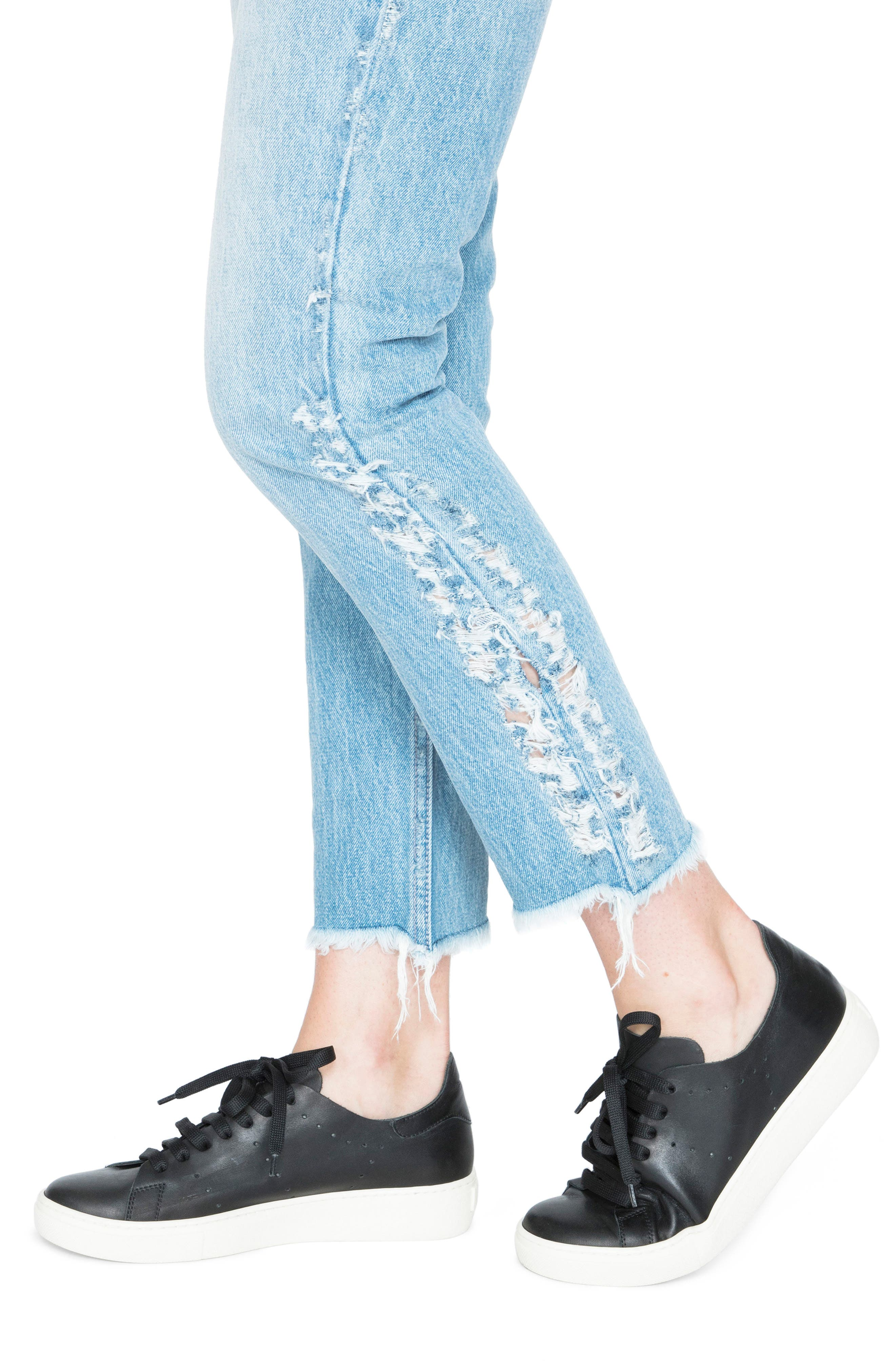AMX Side Fray High Waist Ankle Jeans,                             Alternate thumbnail 4, color,                             Light Stone