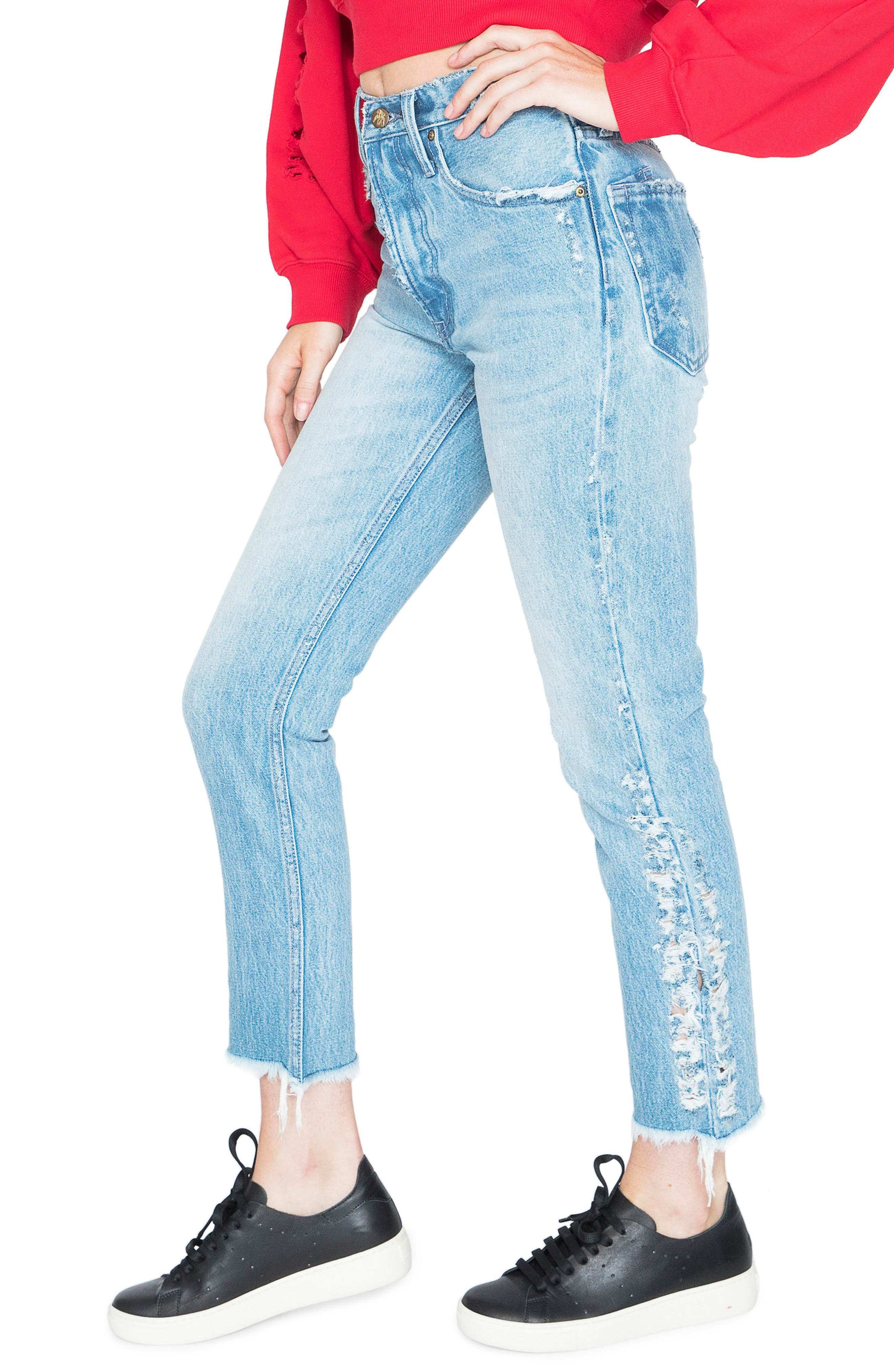 AMX Side Fray High Waist Ankle Jeans,                             Alternate thumbnail 3, color,                             Light Stone