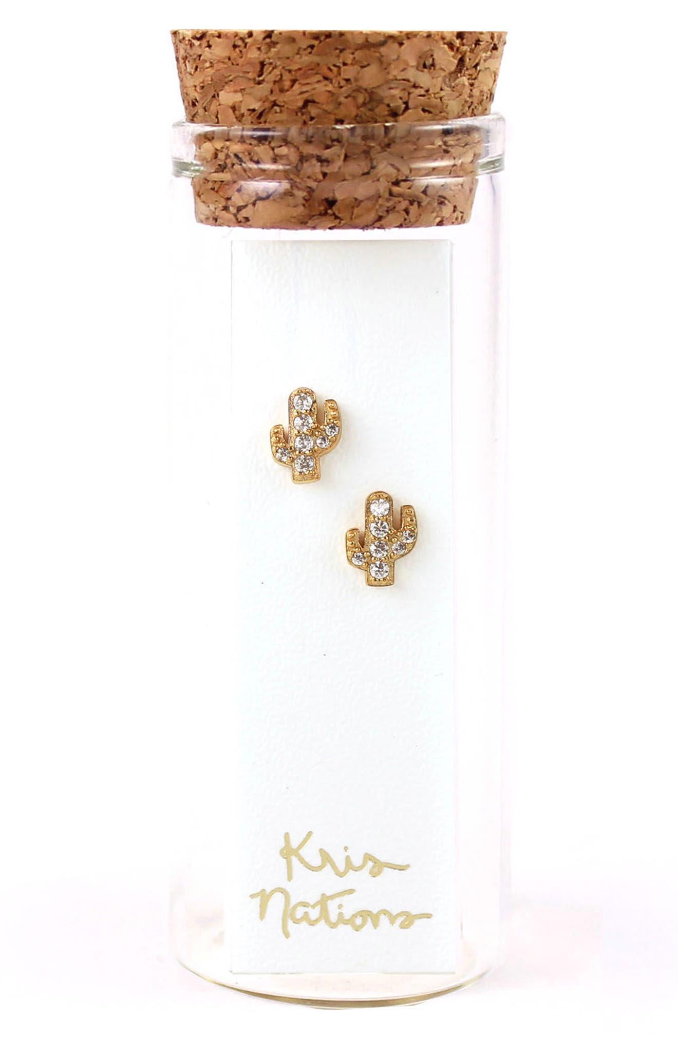 Pavé Cactus Stud Earrings,                             Alternate thumbnail 2, color,                             Gold