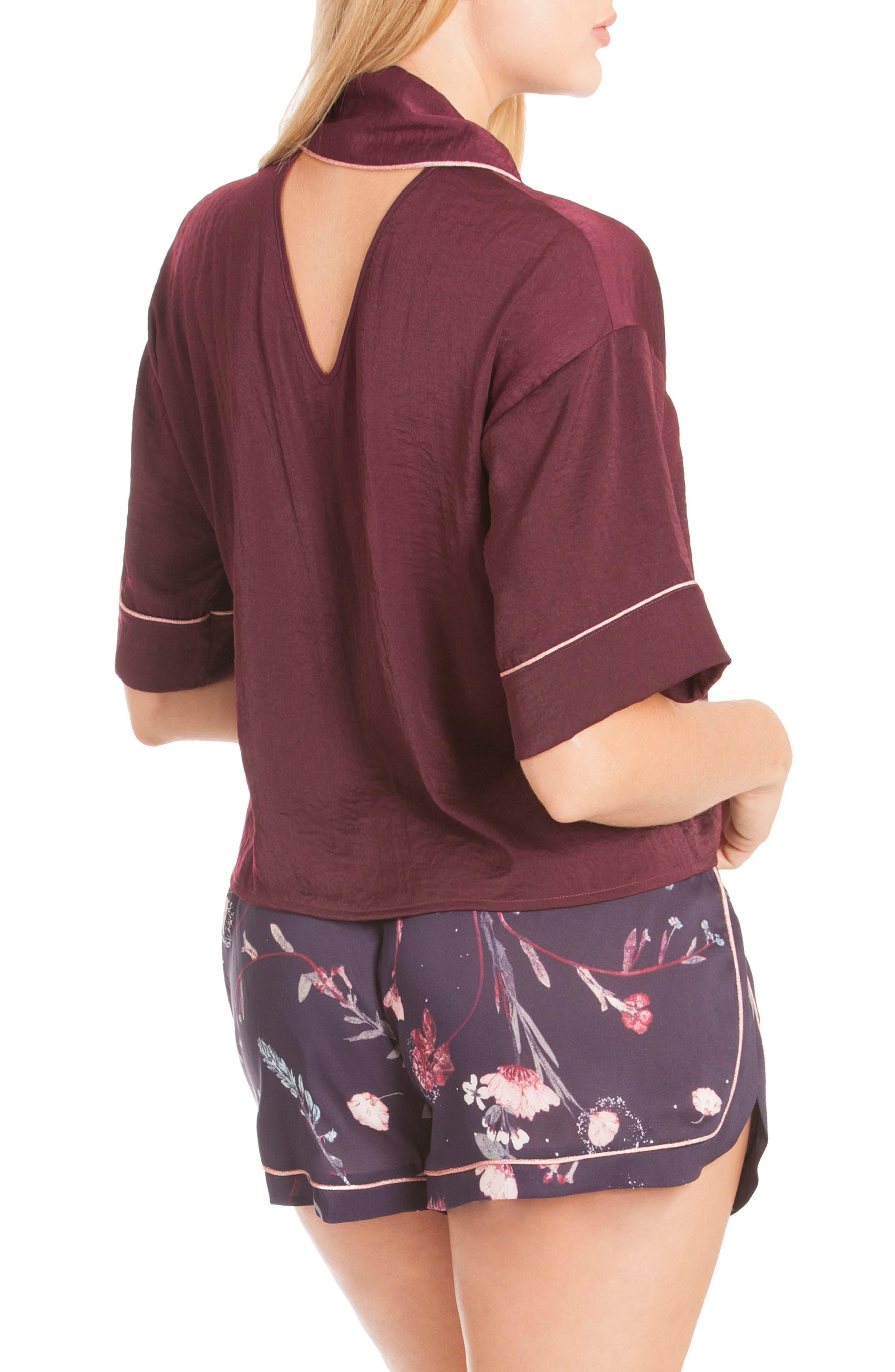Crop Satin Pajama Top,                             Alternate thumbnail 2, color,                             Scarlet