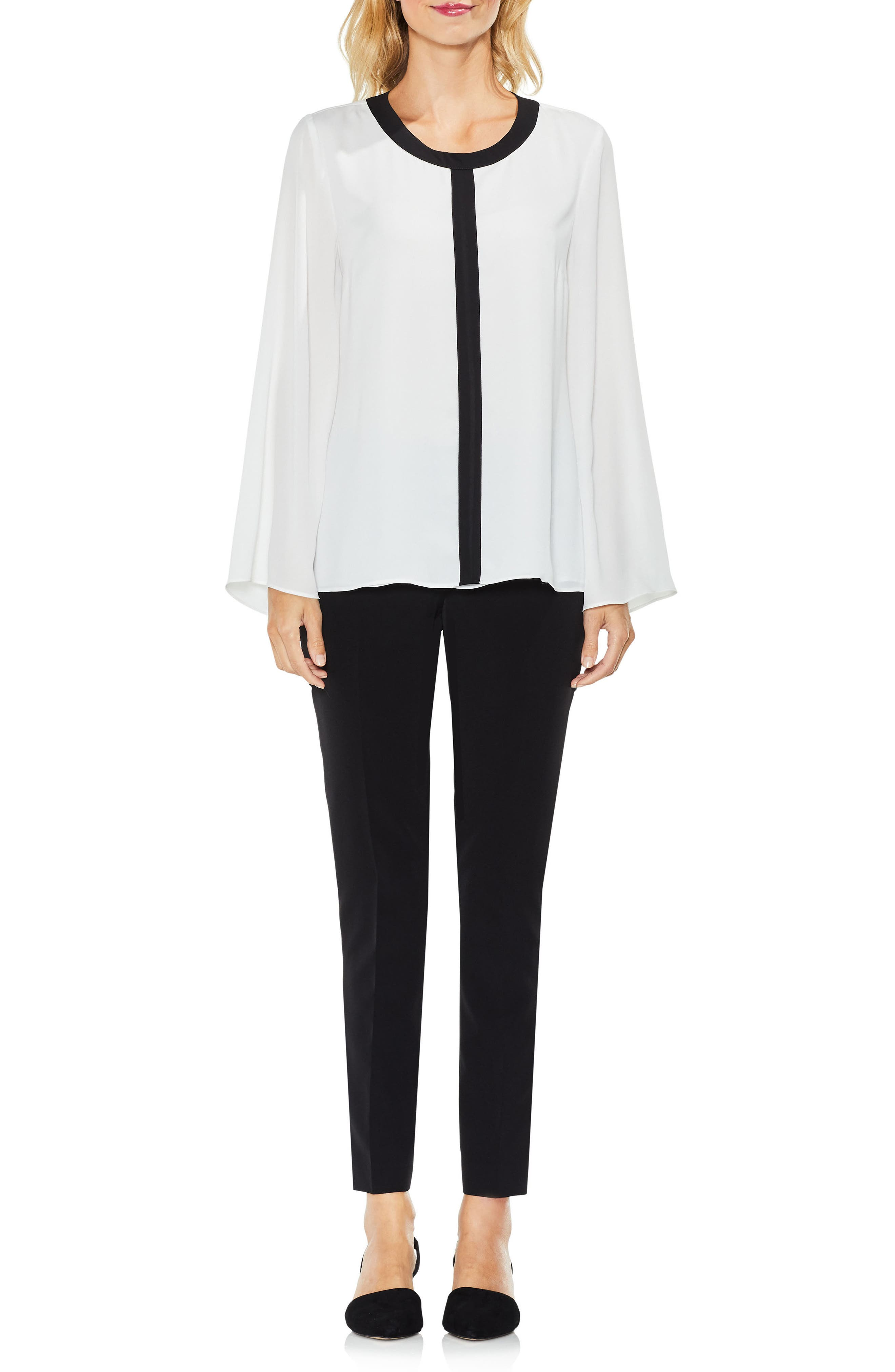 Contrast Trim Bell Sleeve Blouse,                             Alternate thumbnail 3, color,                             New Ivory