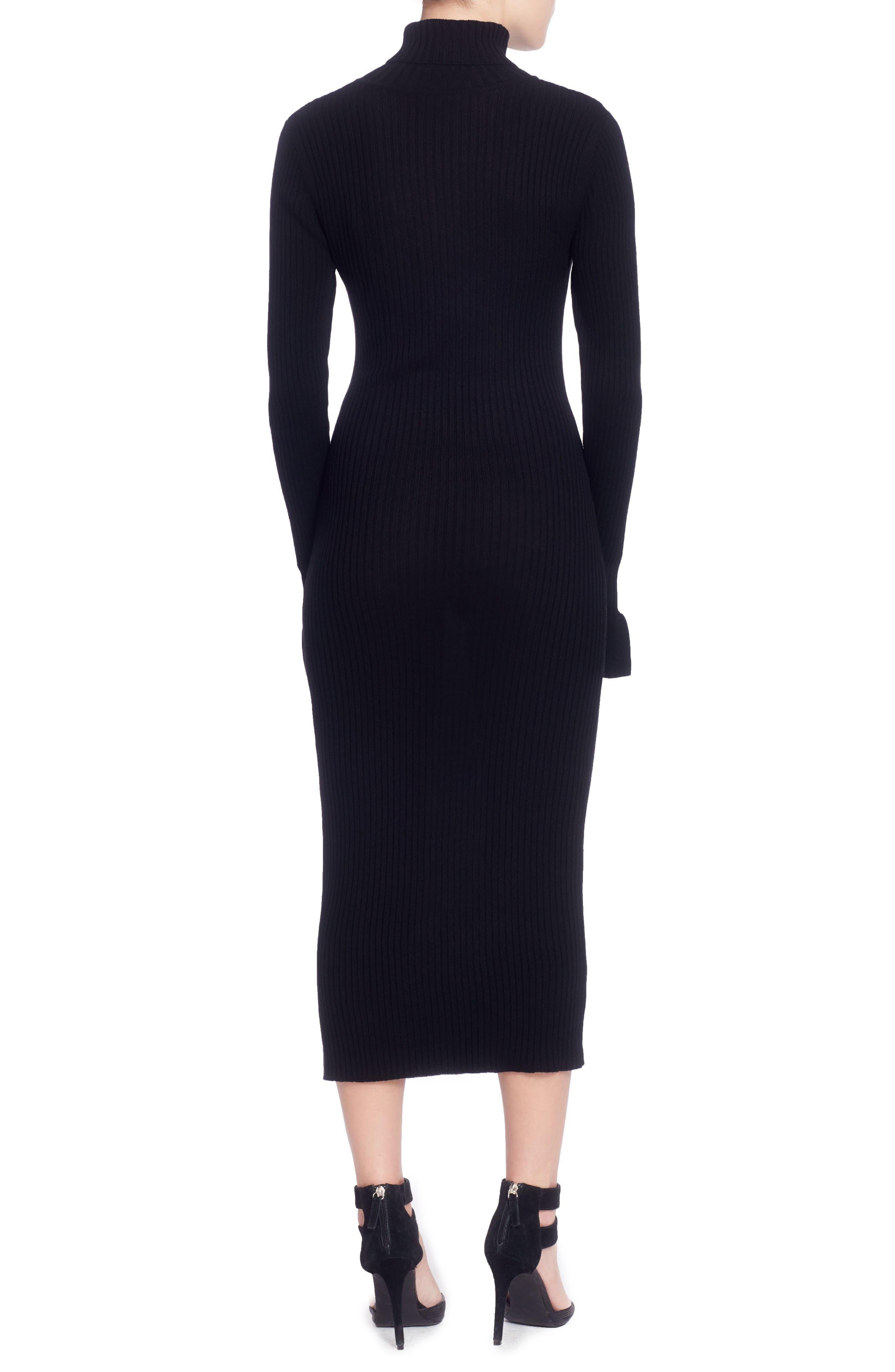 Camron Turtleneck Midi Dress,                             Alternate thumbnail 2, color,                             Black