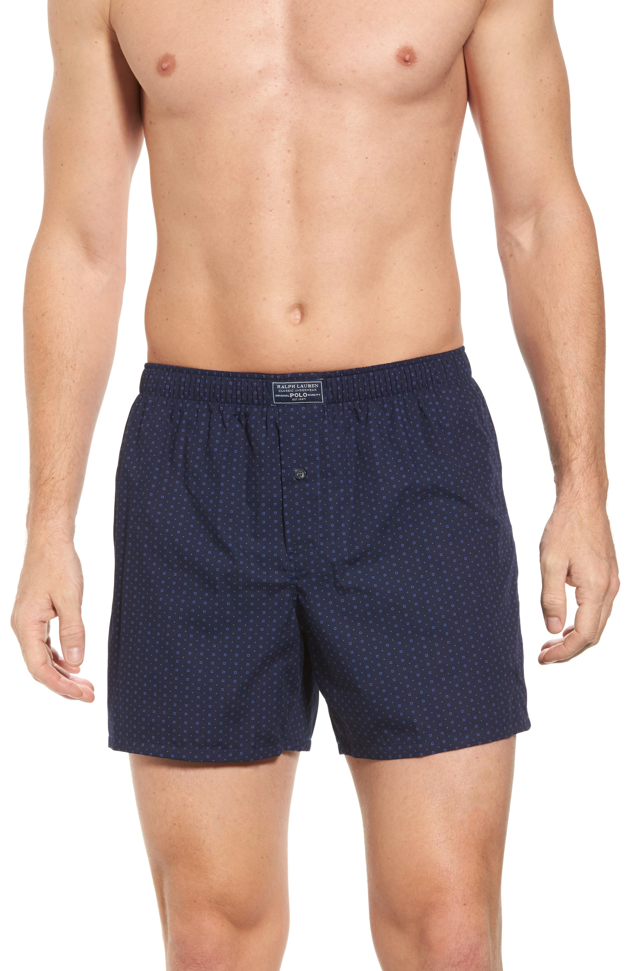 Classic Cotton Boxers,                         Main,                         color, Navy Dot Print/ Cruise Navy