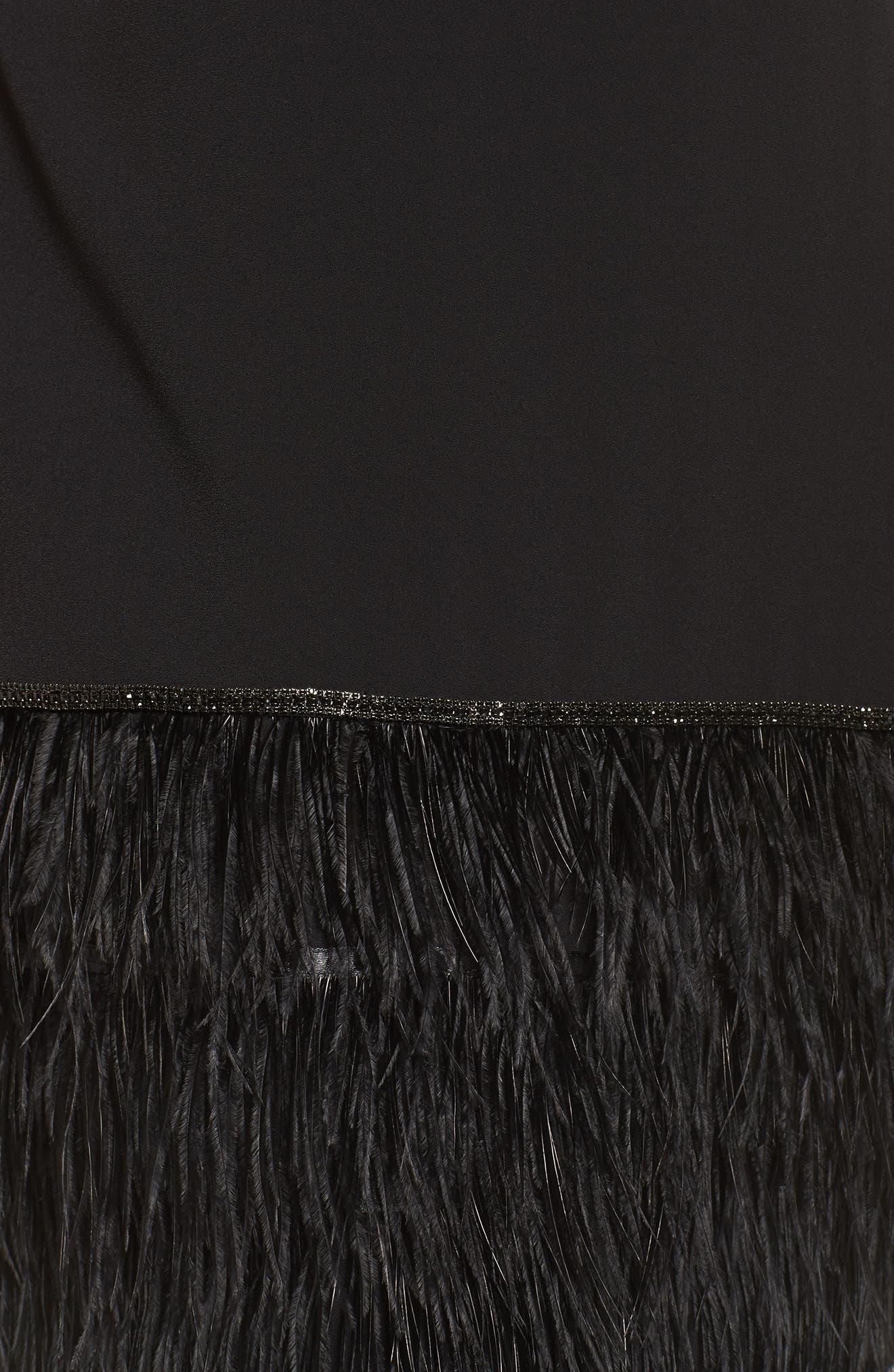 Feather Hem Shift Dress,                             Alternate thumbnail 5, color,                             Black