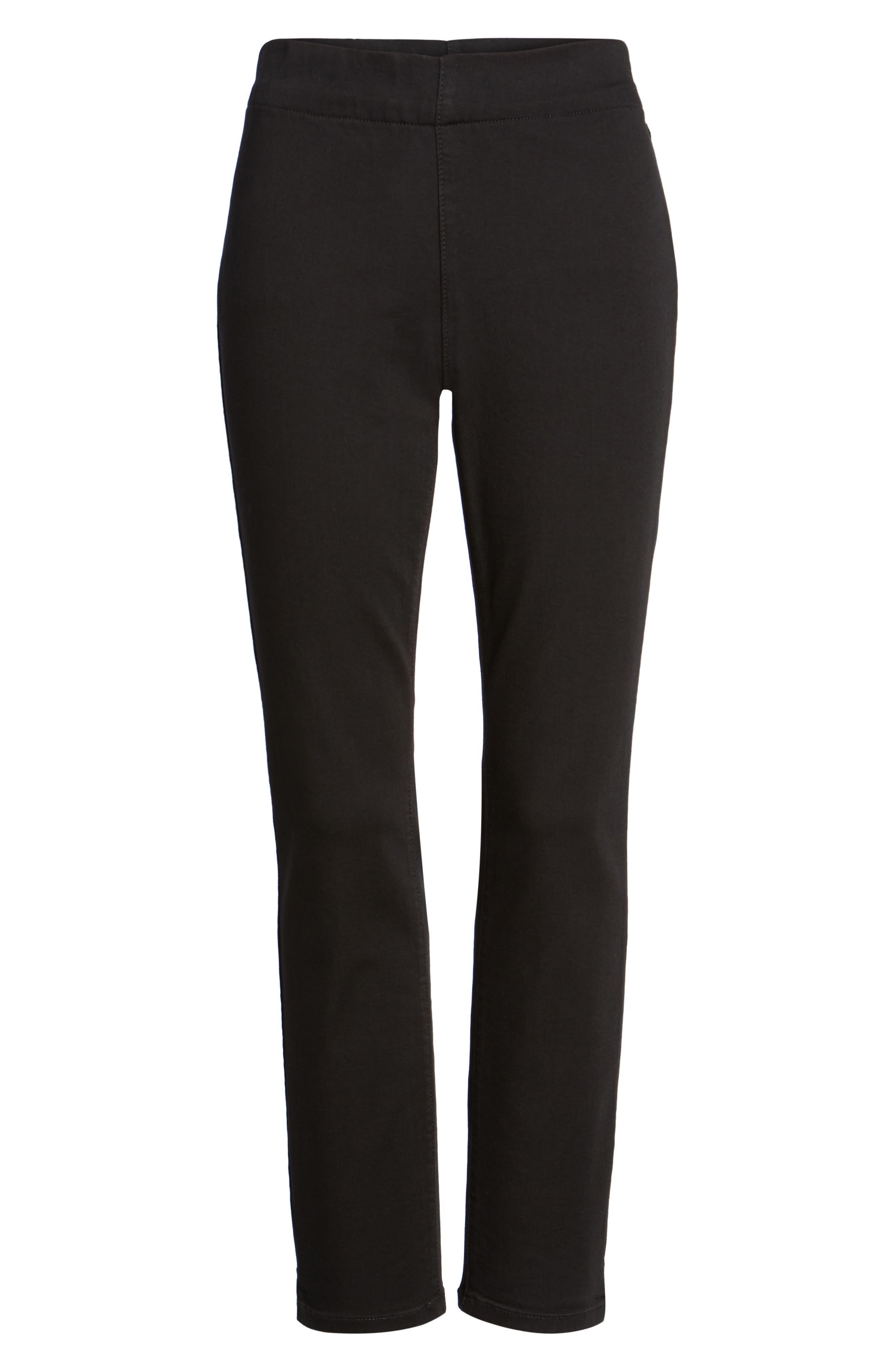 Alina Stretch Ankle Jeans,                             Alternate thumbnail 4, color,                             Black