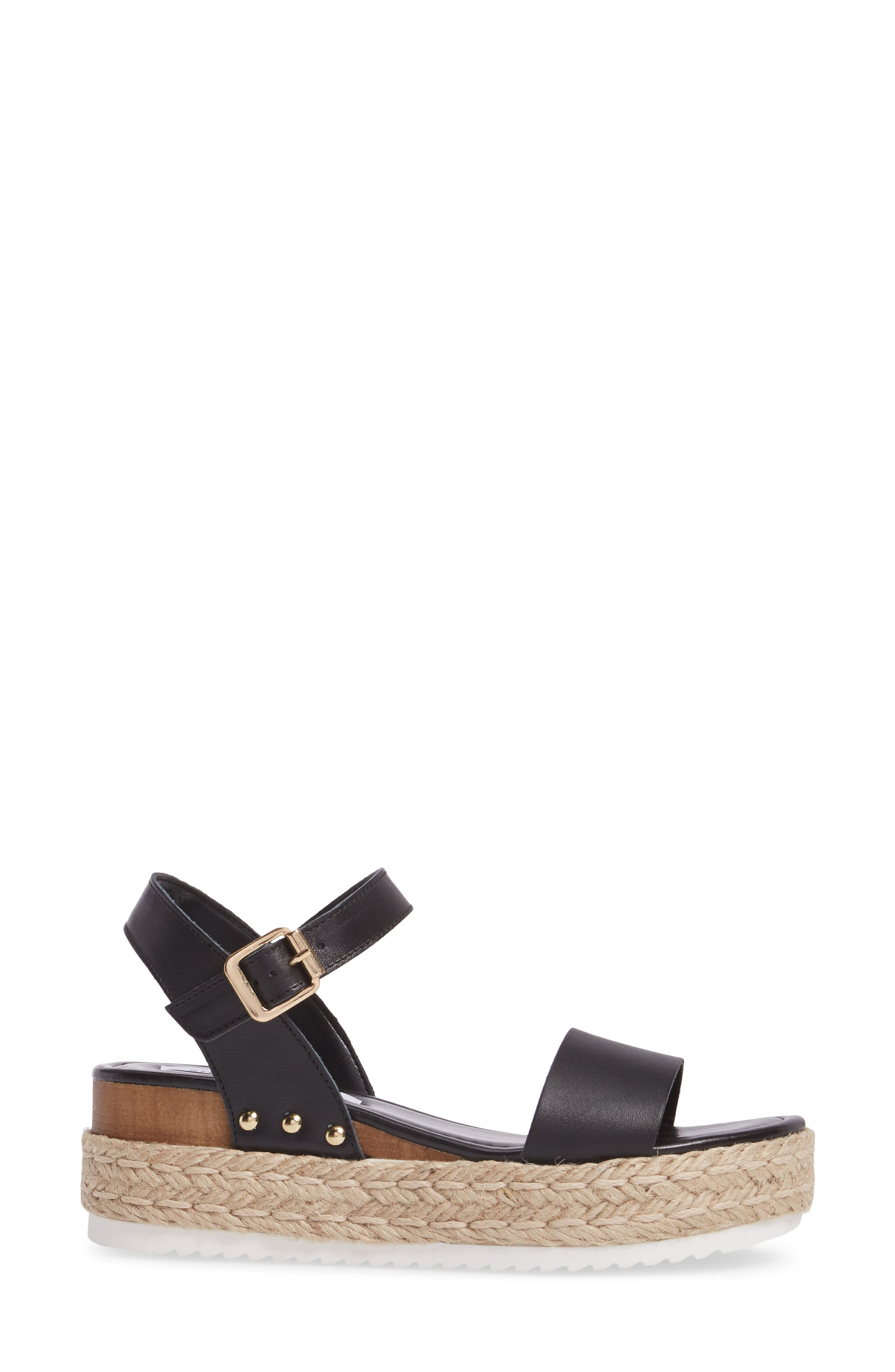 Chiara Platform Espadrille Sandal,                             Alternate thumbnail 3, color,                             Black Leather