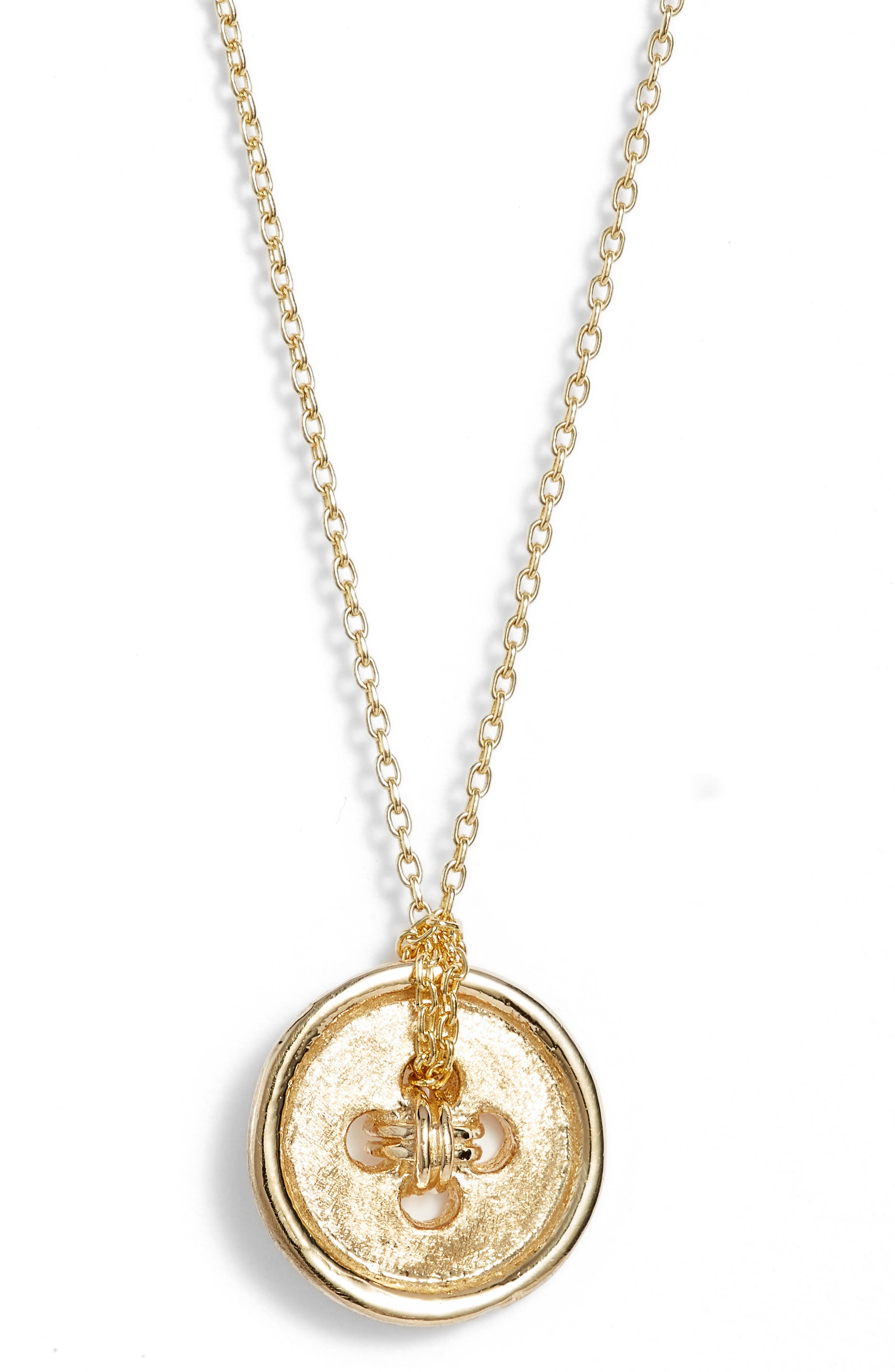 Cute as a Button Short Pendant Necklace,                             Main thumbnail 1, color,                             Yellow Gold