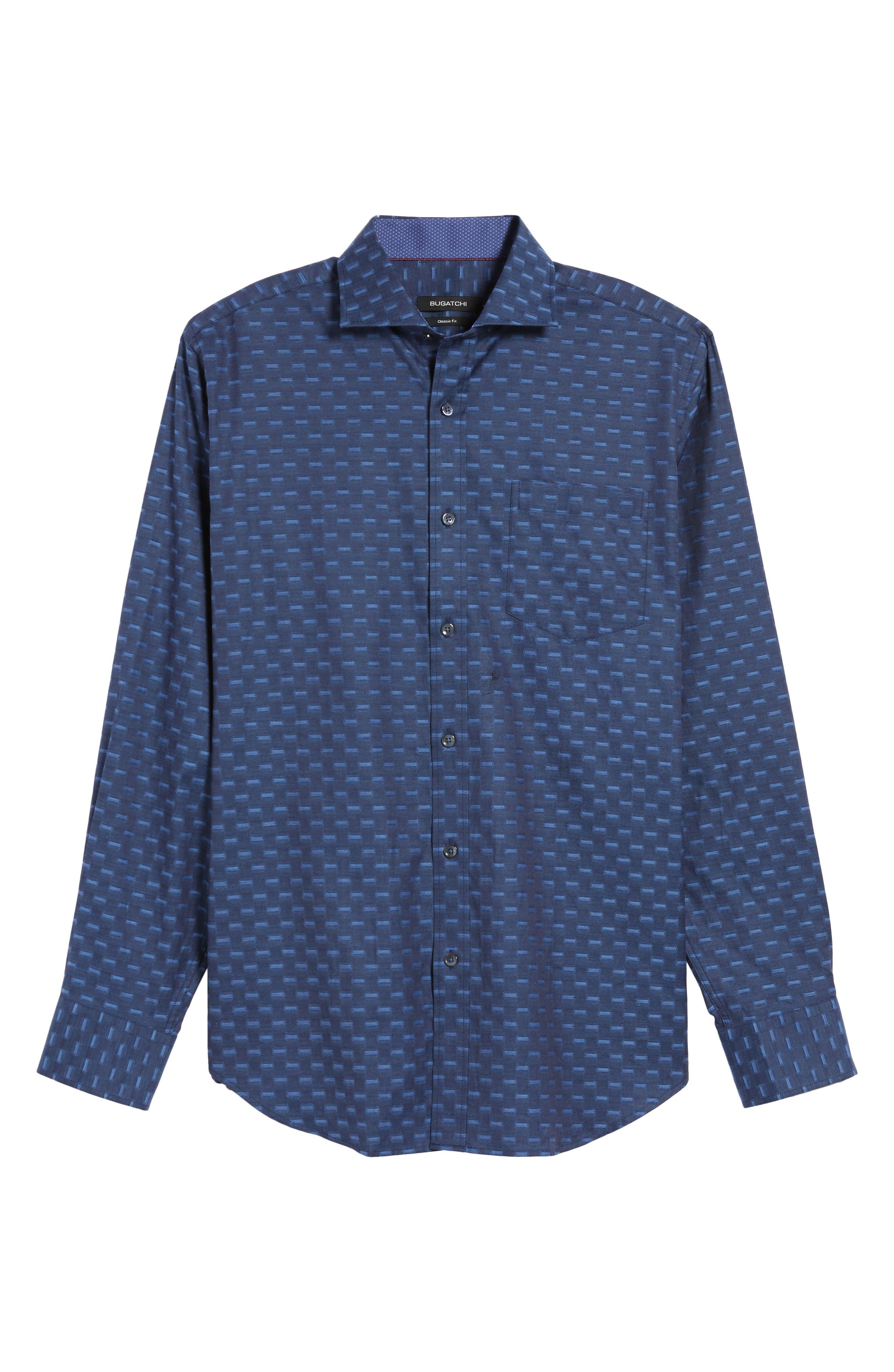 Alternate Image 6  - Bugatchi Classic Fit Jacquard Sport Shirt