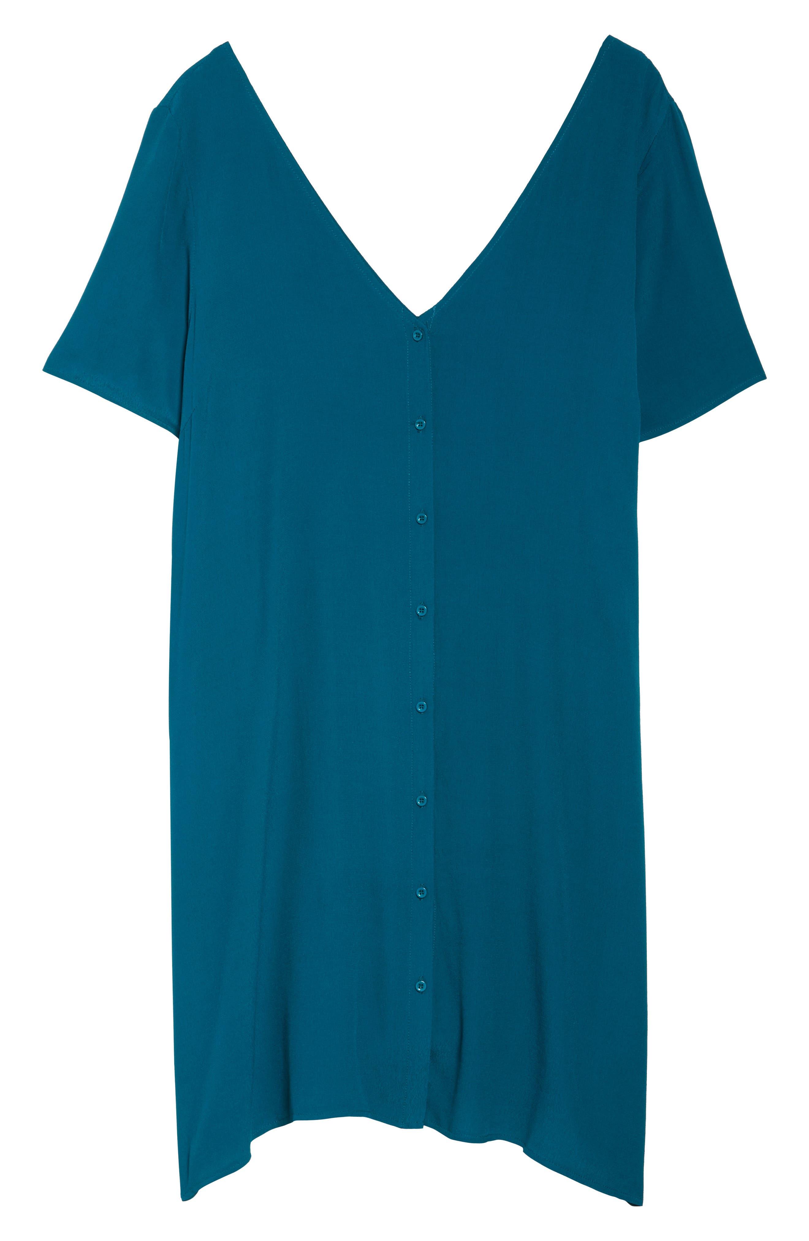 Button Front Trapeze Dress,                             Alternate thumbnail 6, color,                             Teal