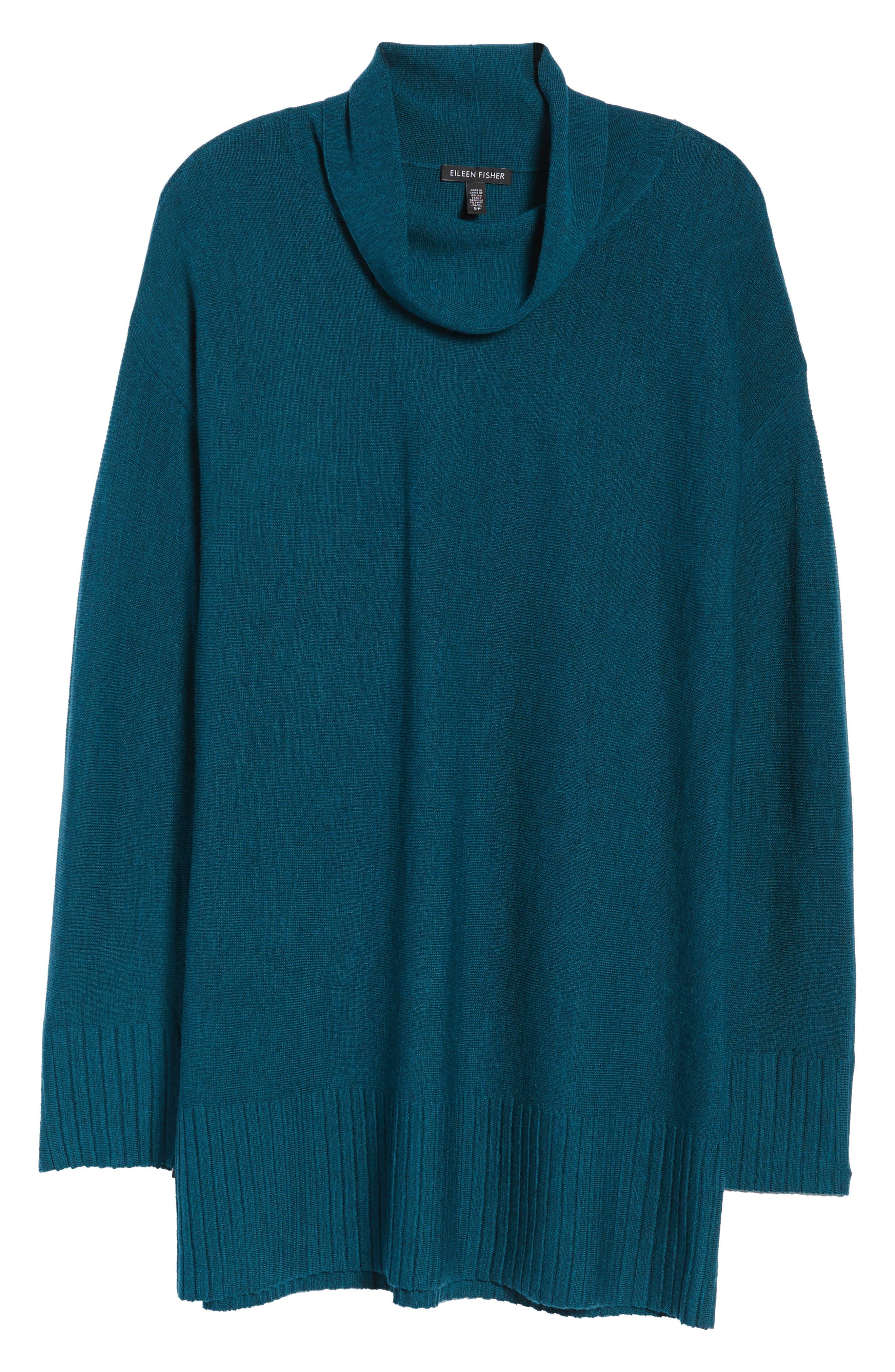 Merino Wool Tunic Sweater,                             Alternate thumbnail 6, color,                             Blue Spruce