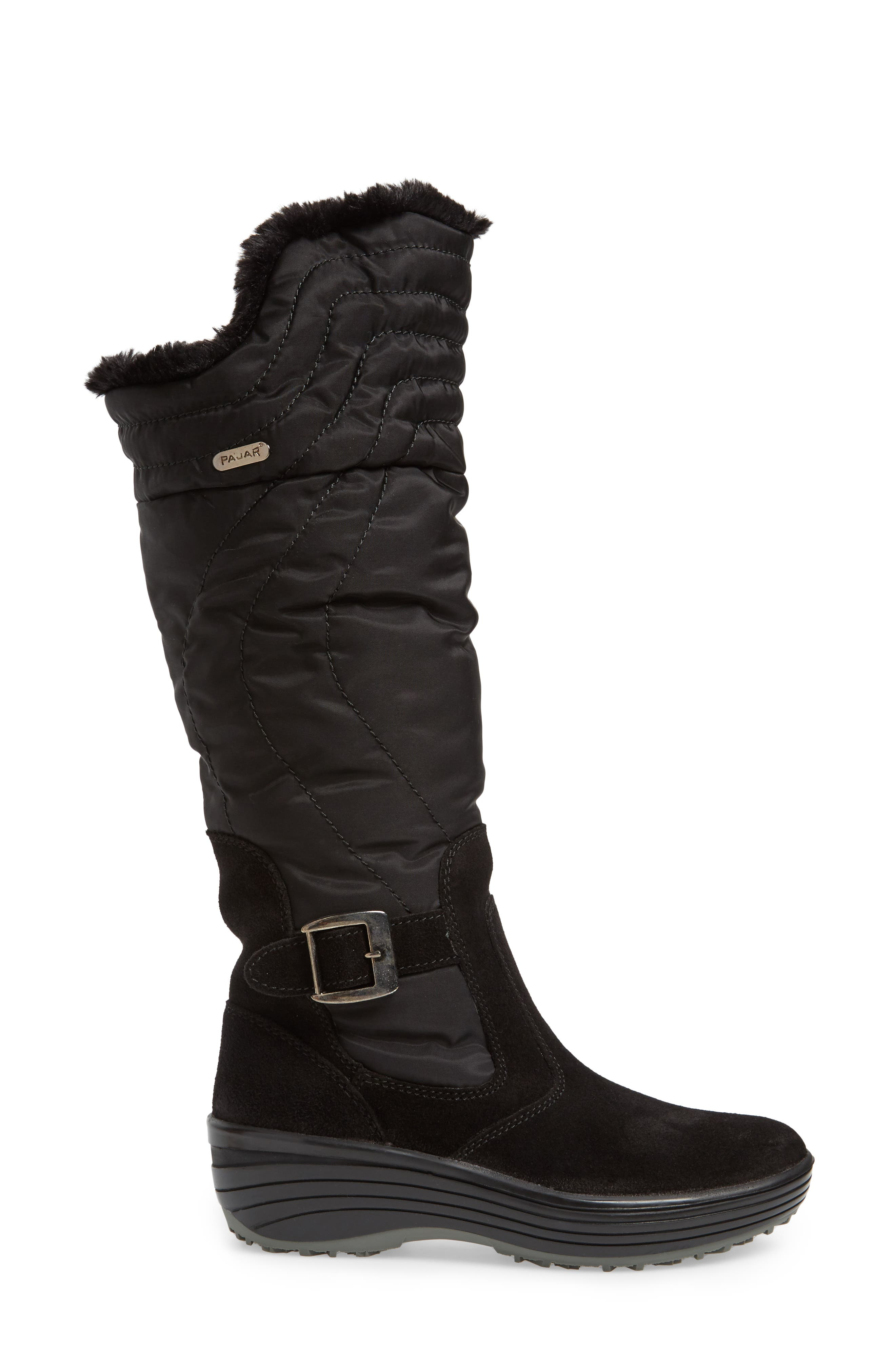 Natasha Faux Fur Lined Waterproof Boot,                             Alternate thumbnail 3, color,                             Black Suede