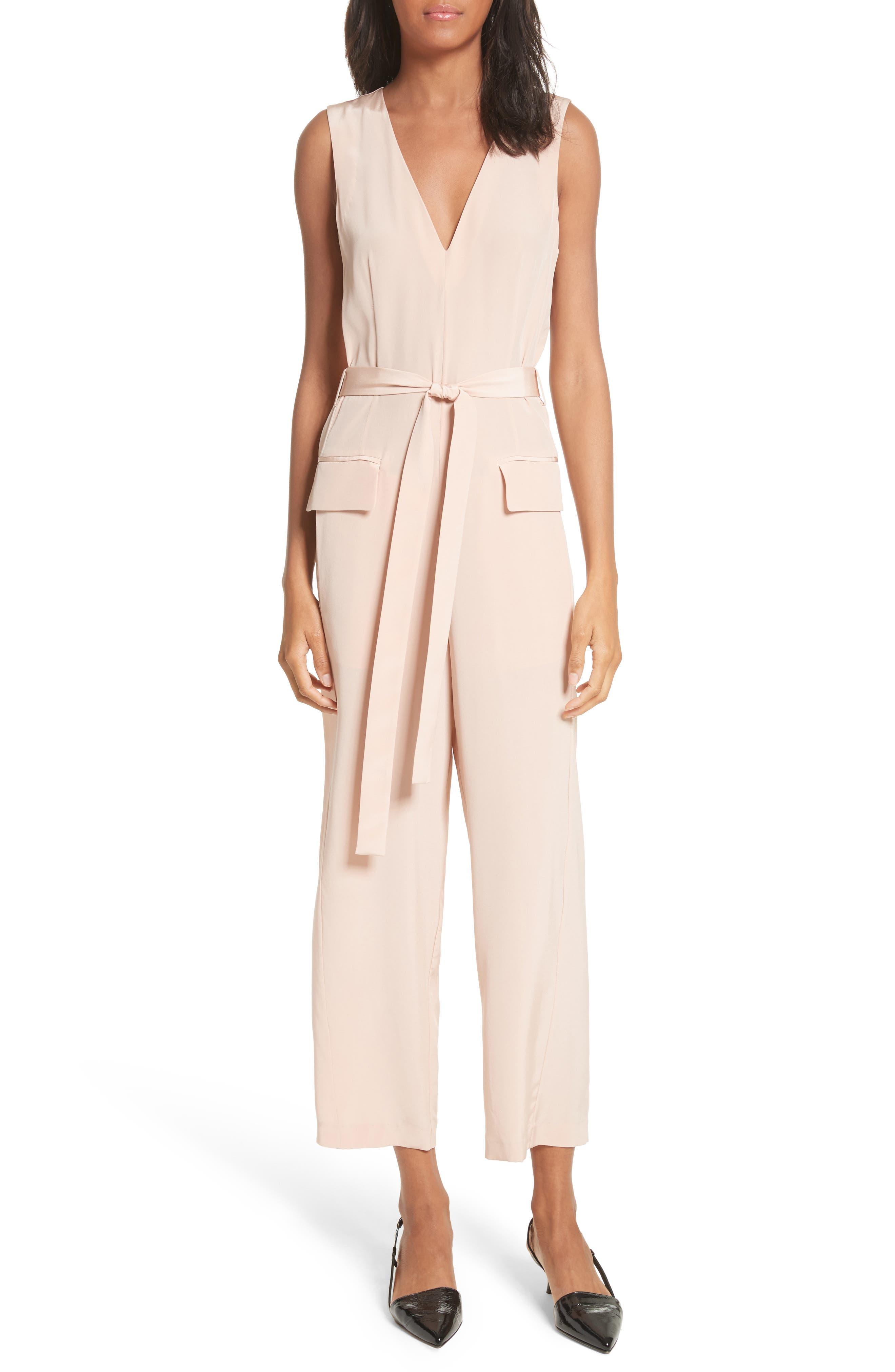 Silk Jumpsuit,                         Main,                         color, Blush