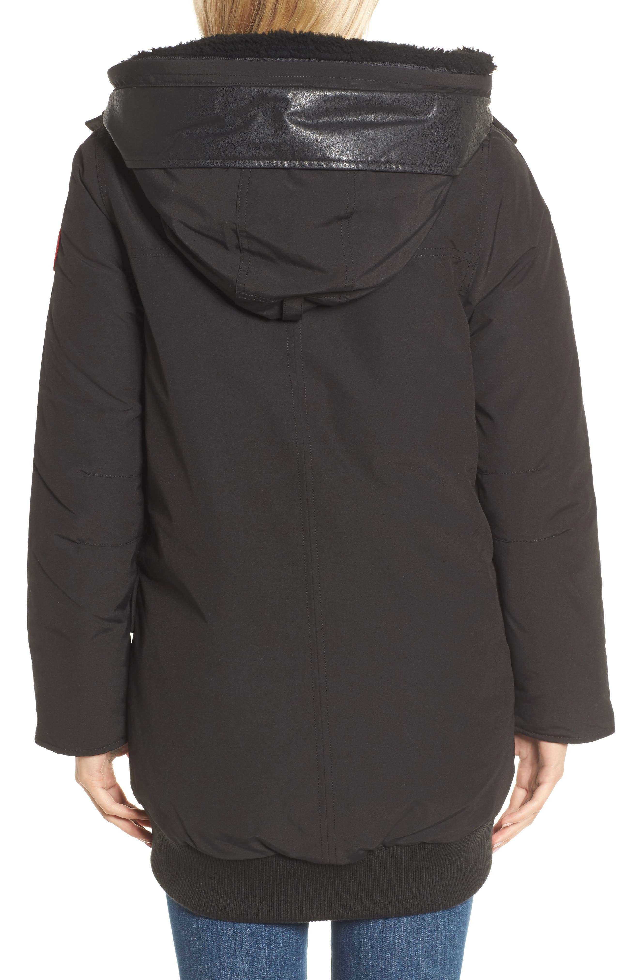 Finnegan 625-Fill Power Down Parka with Genuine Shearling Hood Lining,                             Alternate thumbnail 2, color,                             Black